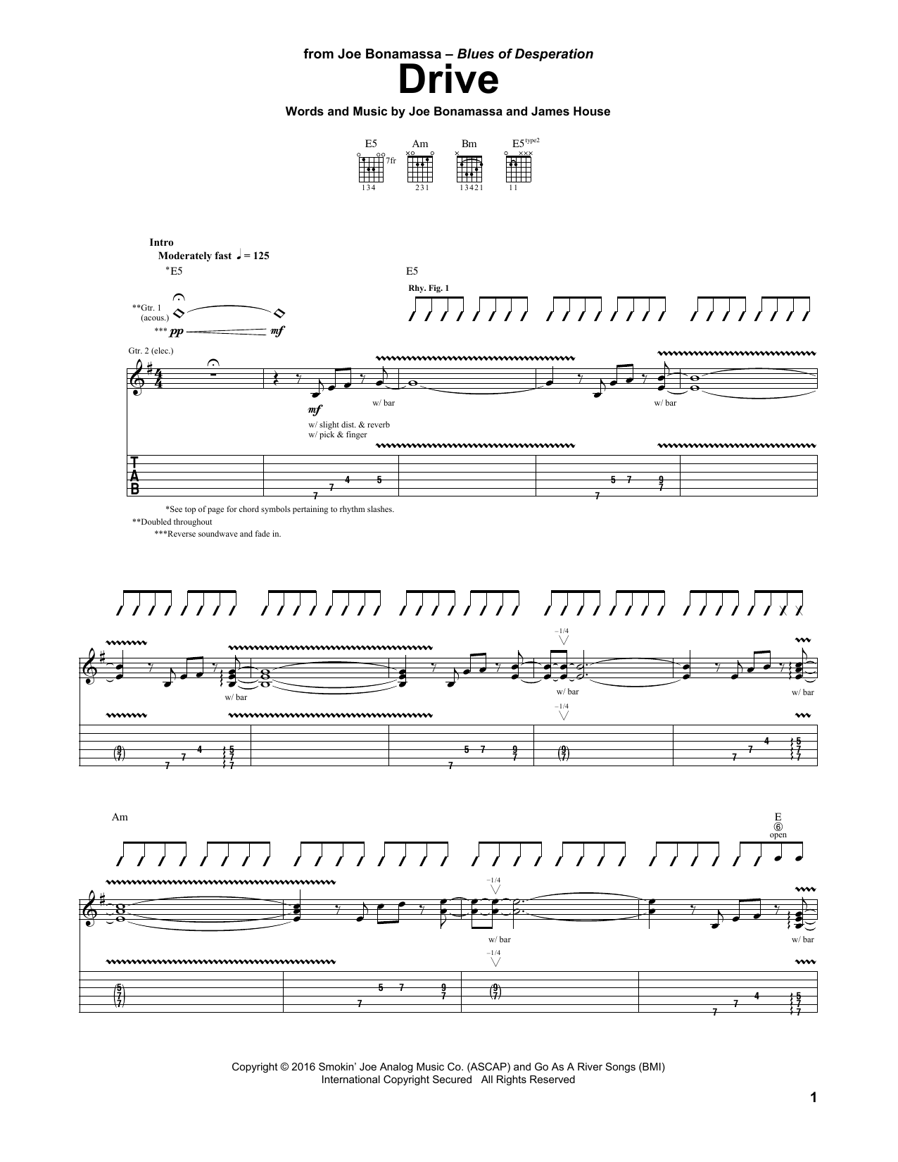 Tablature guitare Drive de Joe Bonamassa - Tablature Guitare