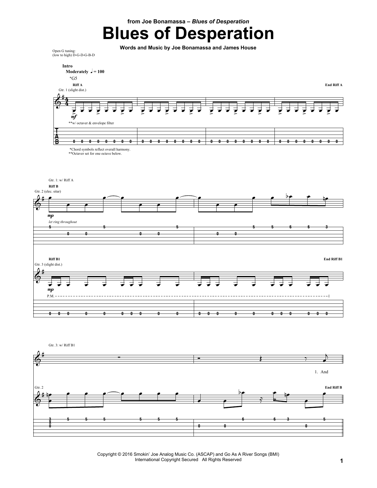 Tablature guitare Blues Of Desperation de Joe Bonamassa - Tablature Guitare