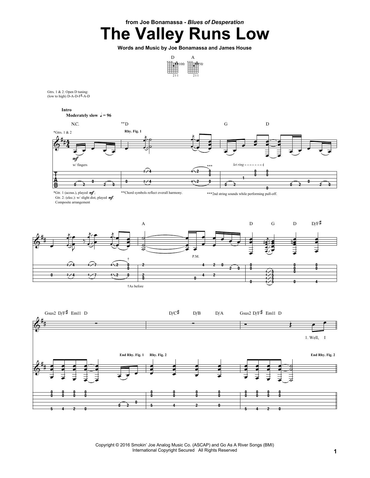 Tablature guitare The Valley Runs Low de Joe Bonamassa - Tablature Guitare