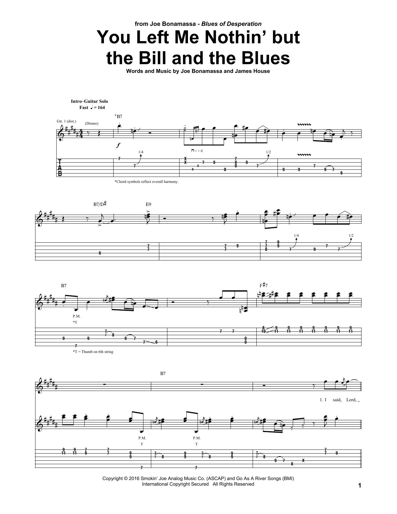 Tablature guitare You Left Me Nothin' But The Bill And The Blues de Joe Bonamassa - Tablature Guitare