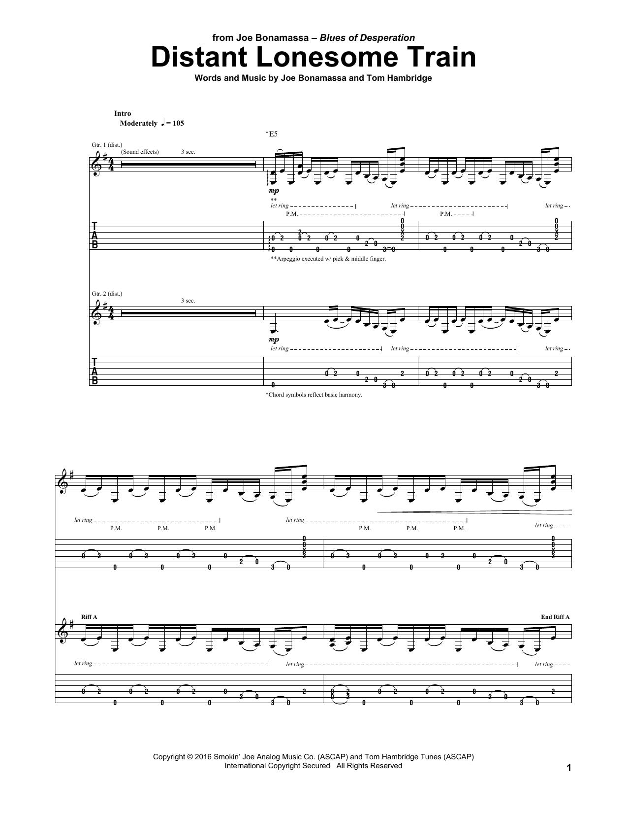 Tablature guitare Distant Lonesome Train de Joe Bonamassa - Tablature Guitare