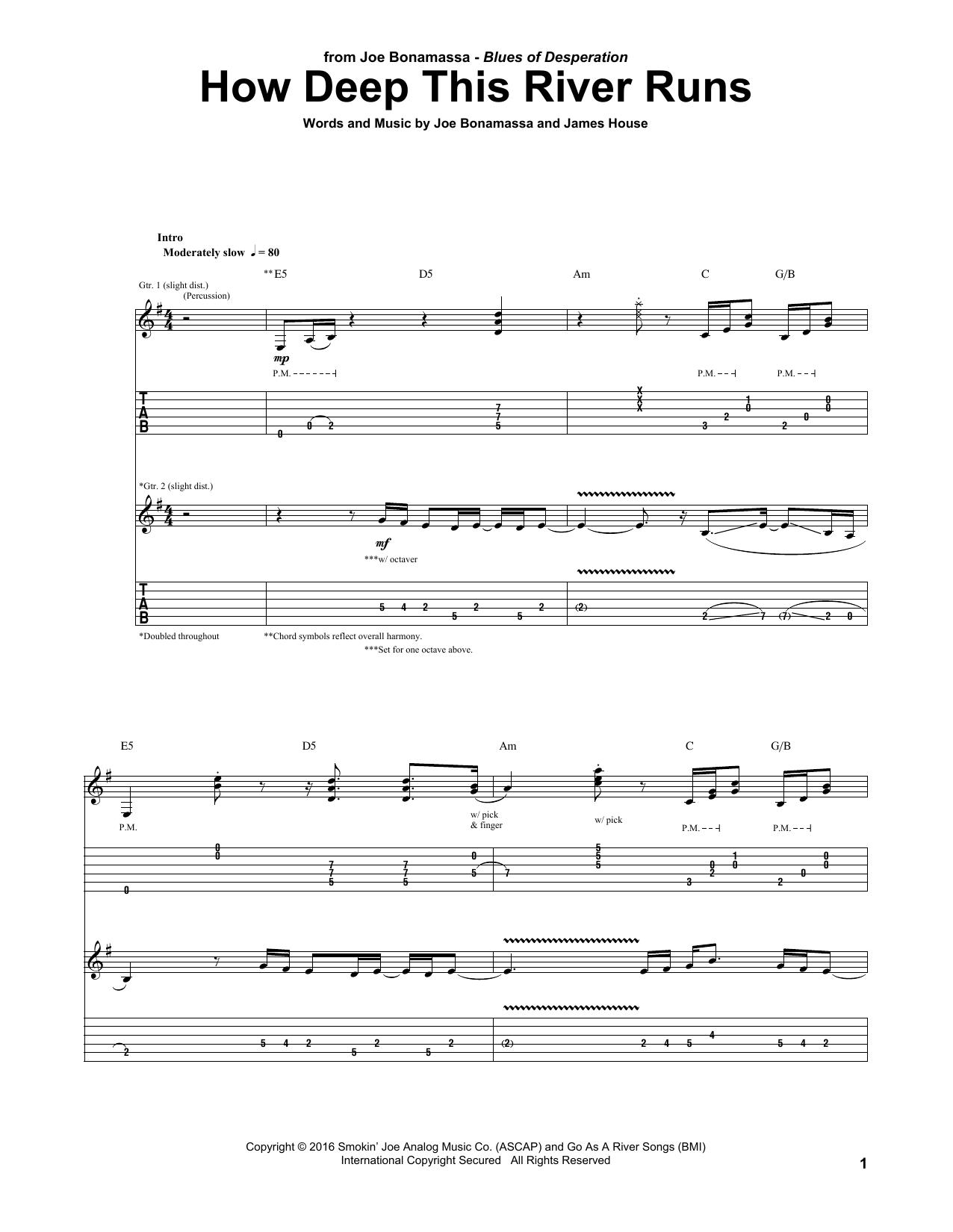 Tablature guitare How Deep This River Runs de Joe Bonamassa - Tablature Guitare