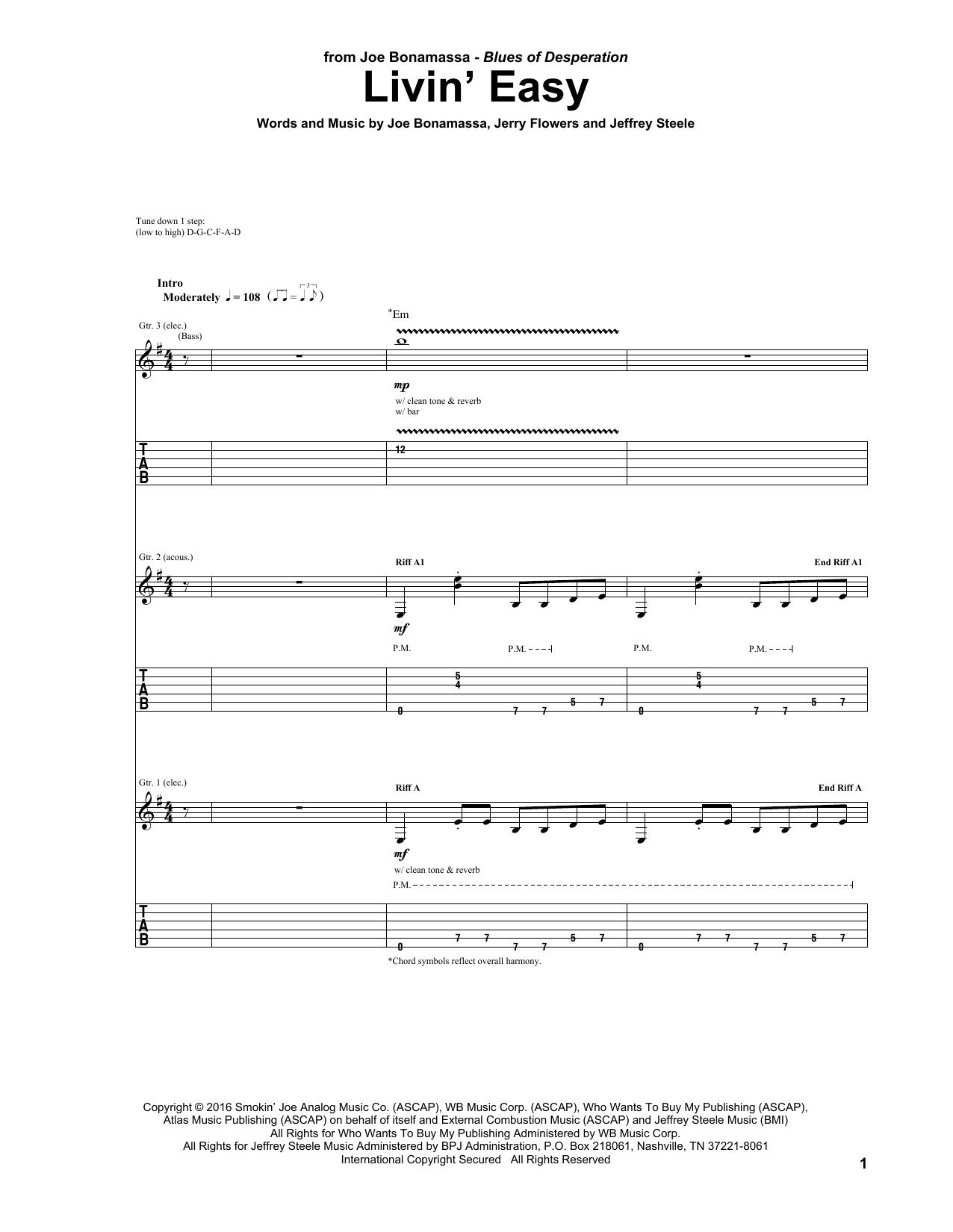 Tablature guitare Livin' Easy de Joe Bonamassa - Tablature Guitare