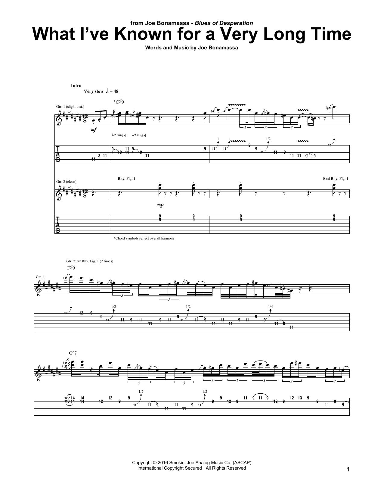 Tablature guitare What I've Known For A Very Long Time de Joe Bonamassa - Tablature Guitare