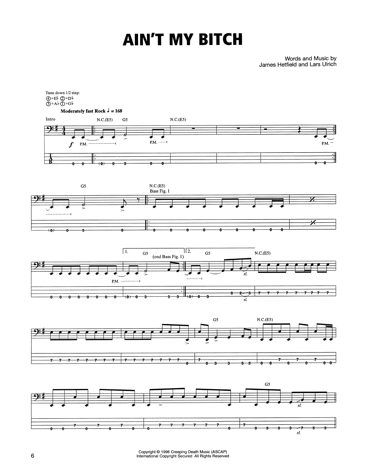 Tablature guitare Ain't My Bitch de Metallica - Tablature Basse