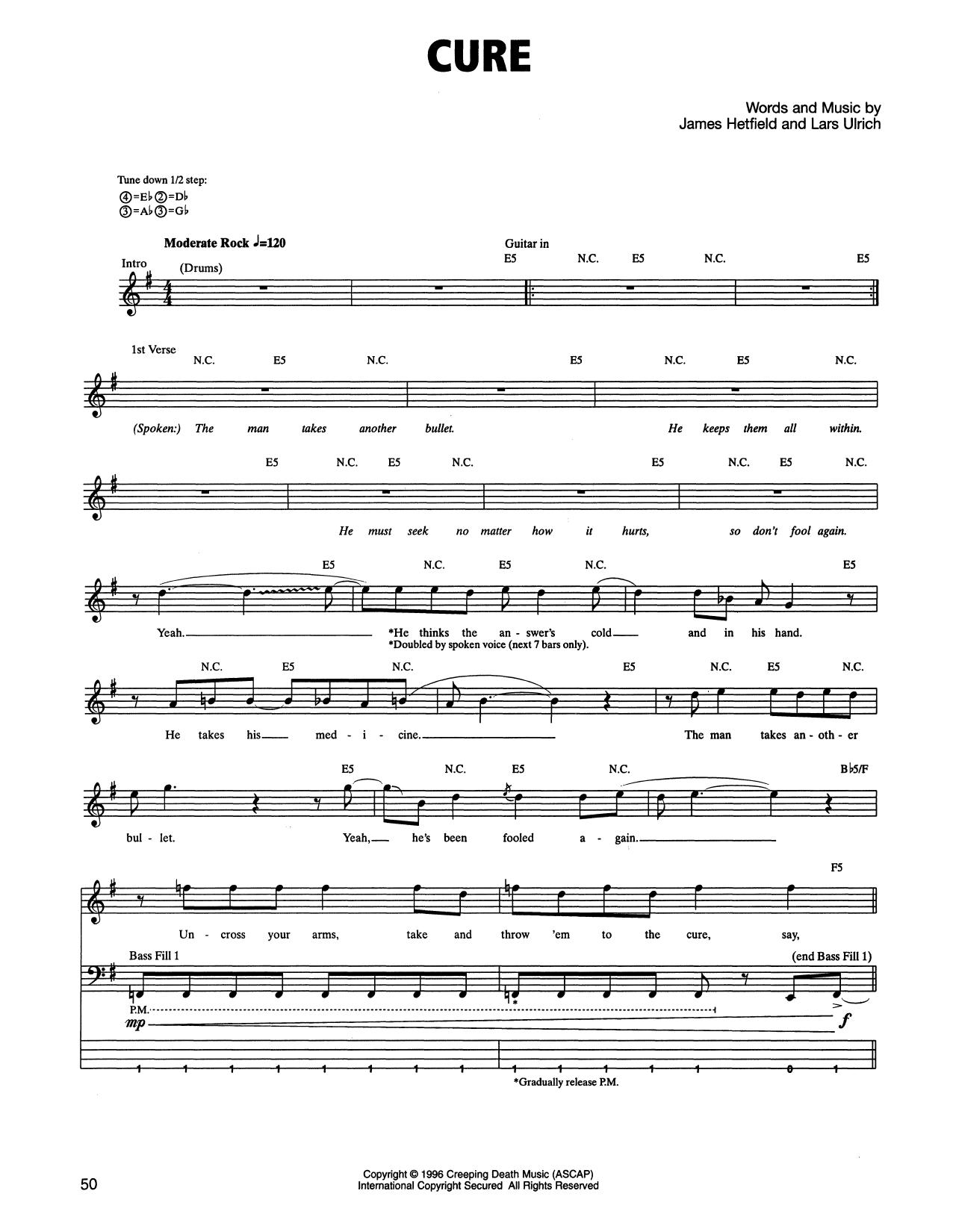 Tablature guitare Cure de Metallica - Tablature Basse