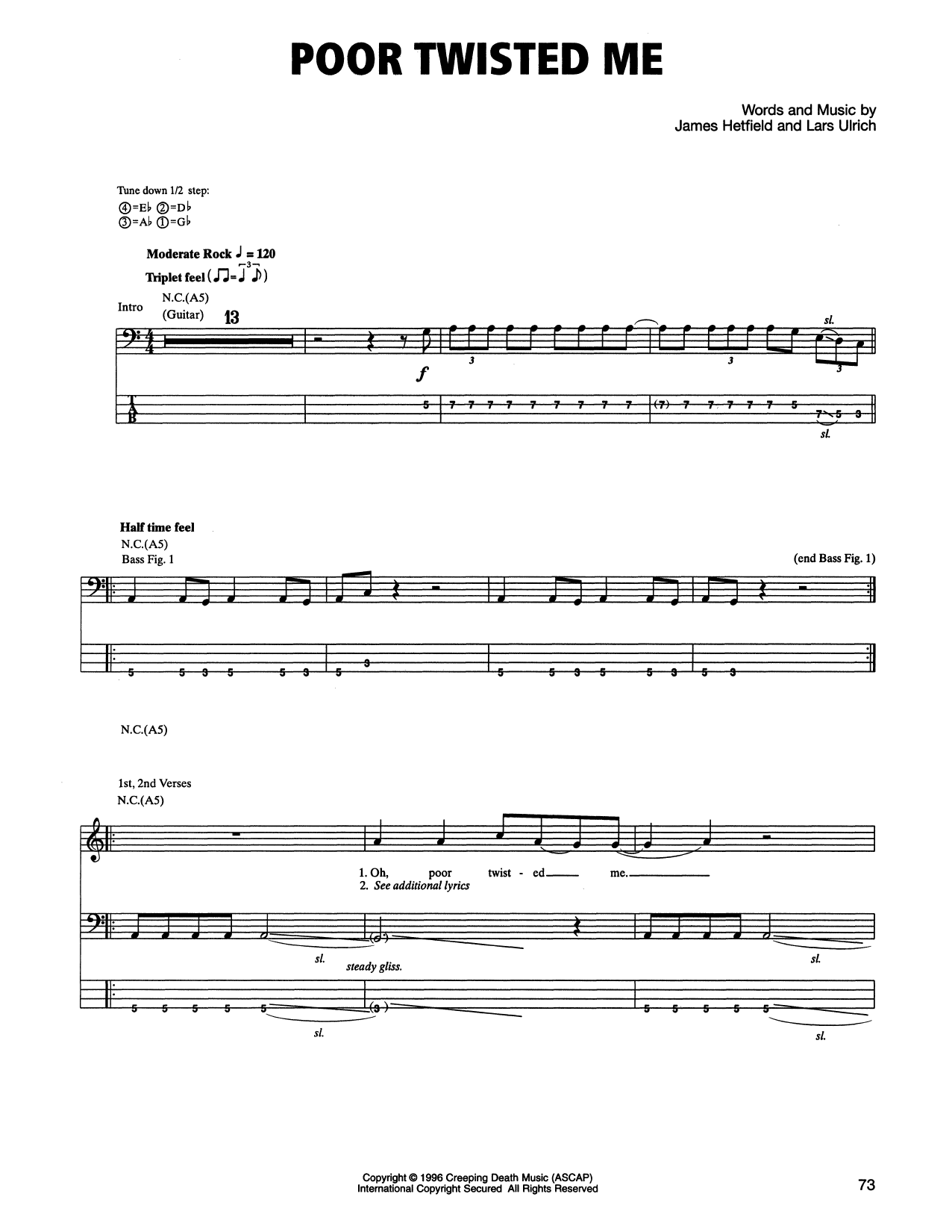 Tablature guitare Poor Twisted Me de Metallica - Tablature Basse