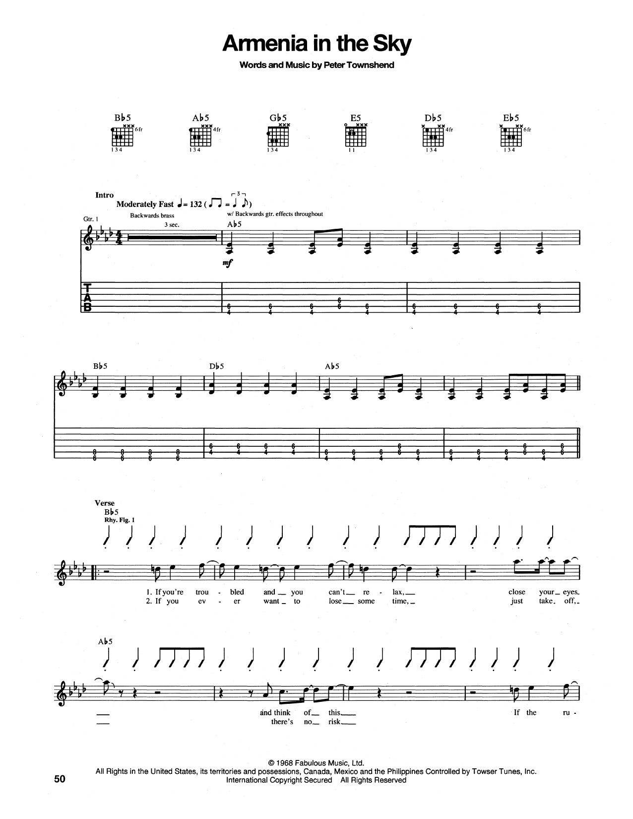 Tablature guitare Armenia City In The Sky de The Who - Tablature Guitare