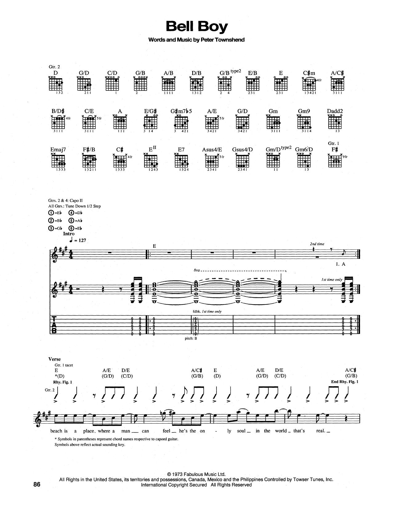 Tablature guitare Bell Boy de The Who - Tablature Guitare