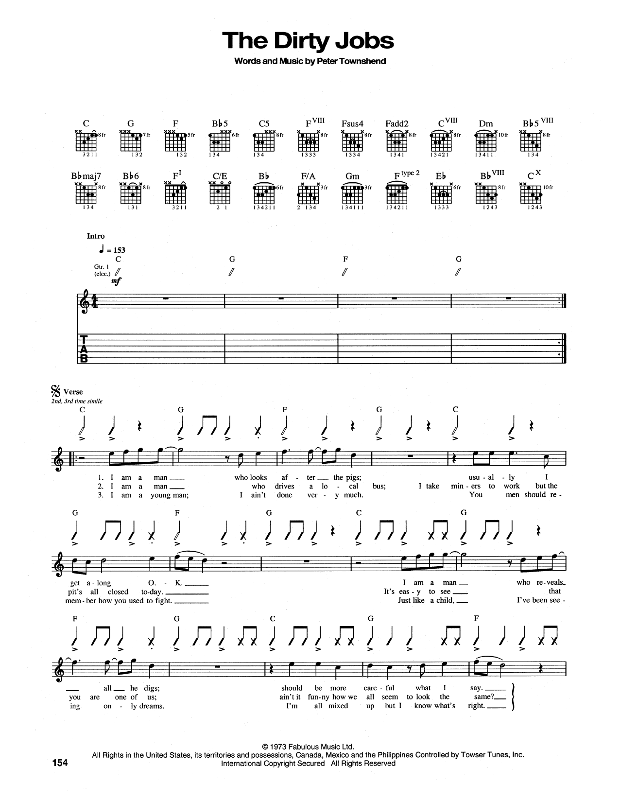 Tablature guitare The Dirty Jobs de The Who - Tablature Guitare