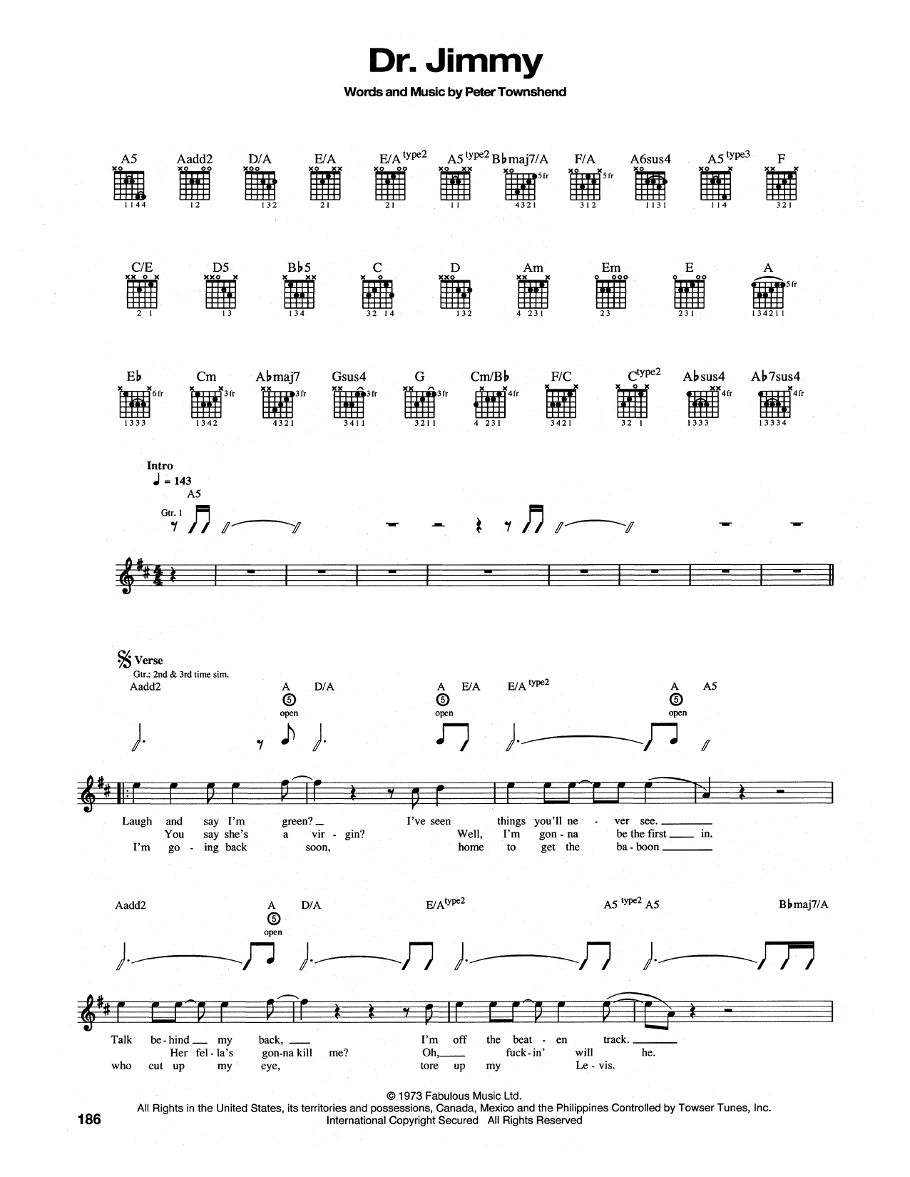 Tablature guitare Dr. Jimmy de The Who - Tablature Guitare