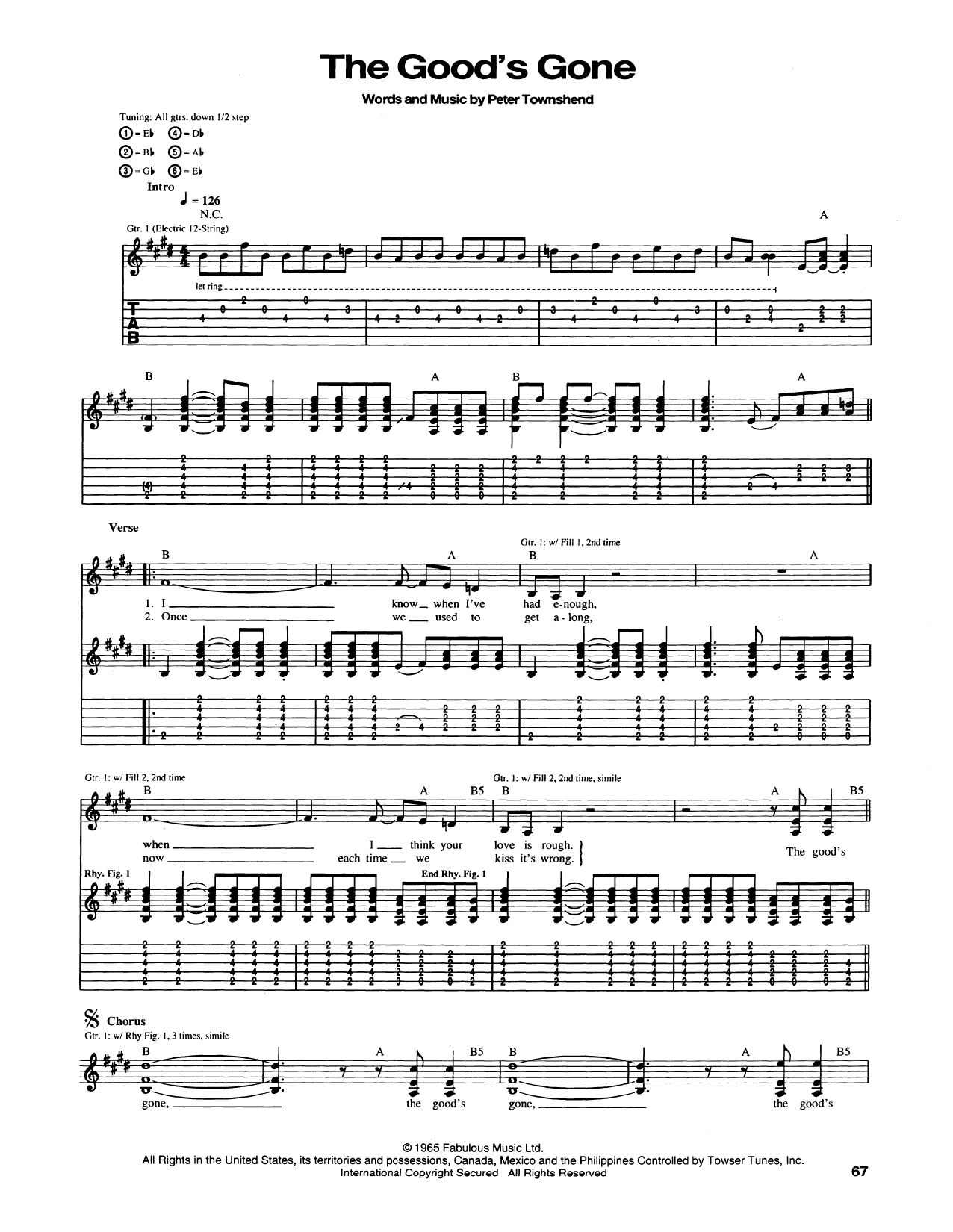 Tablature guitare The Good's Gone de The Who - Tablature Guitare