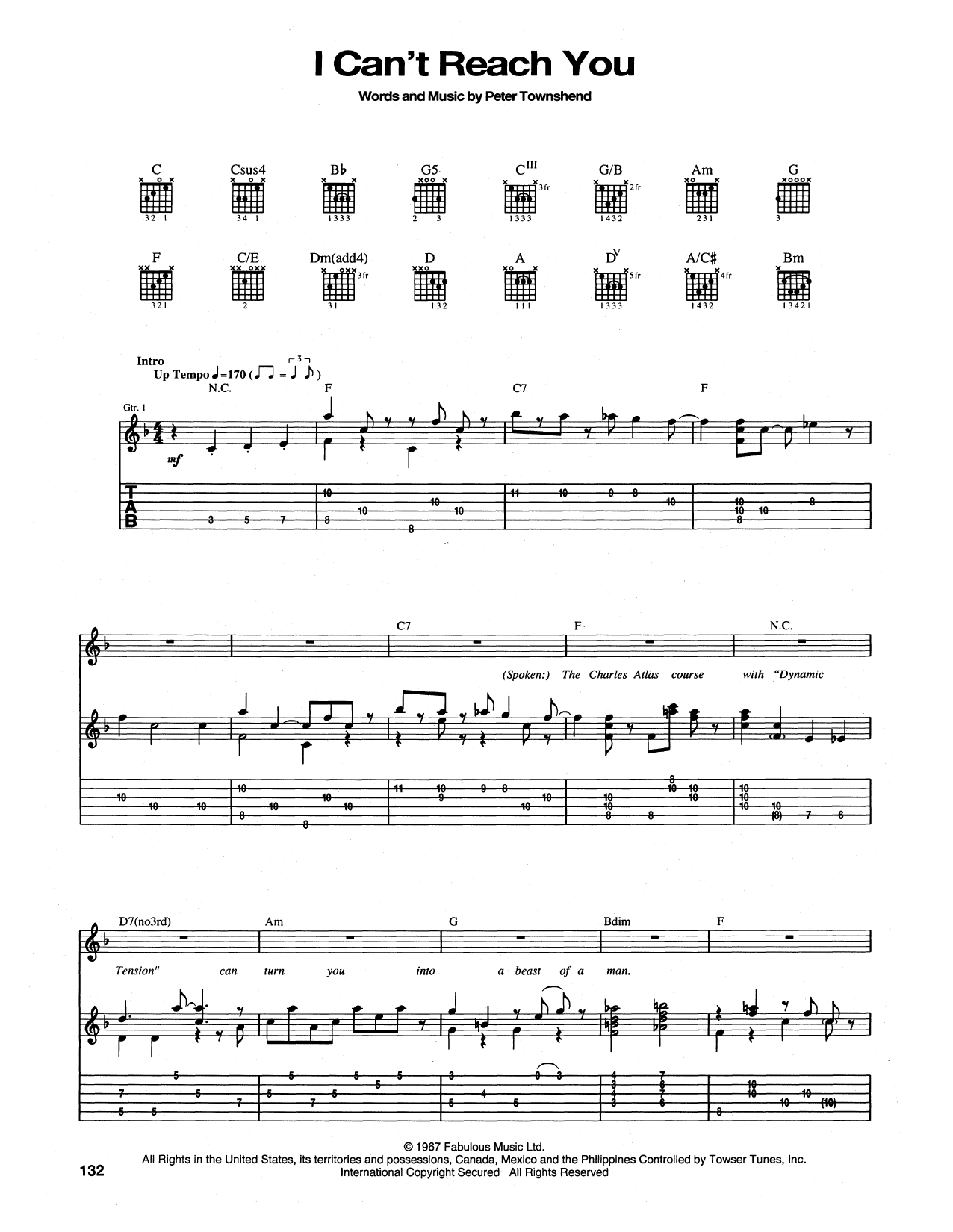 Tablature guitare I Can't Reach You de The Who - Tablature Guitare