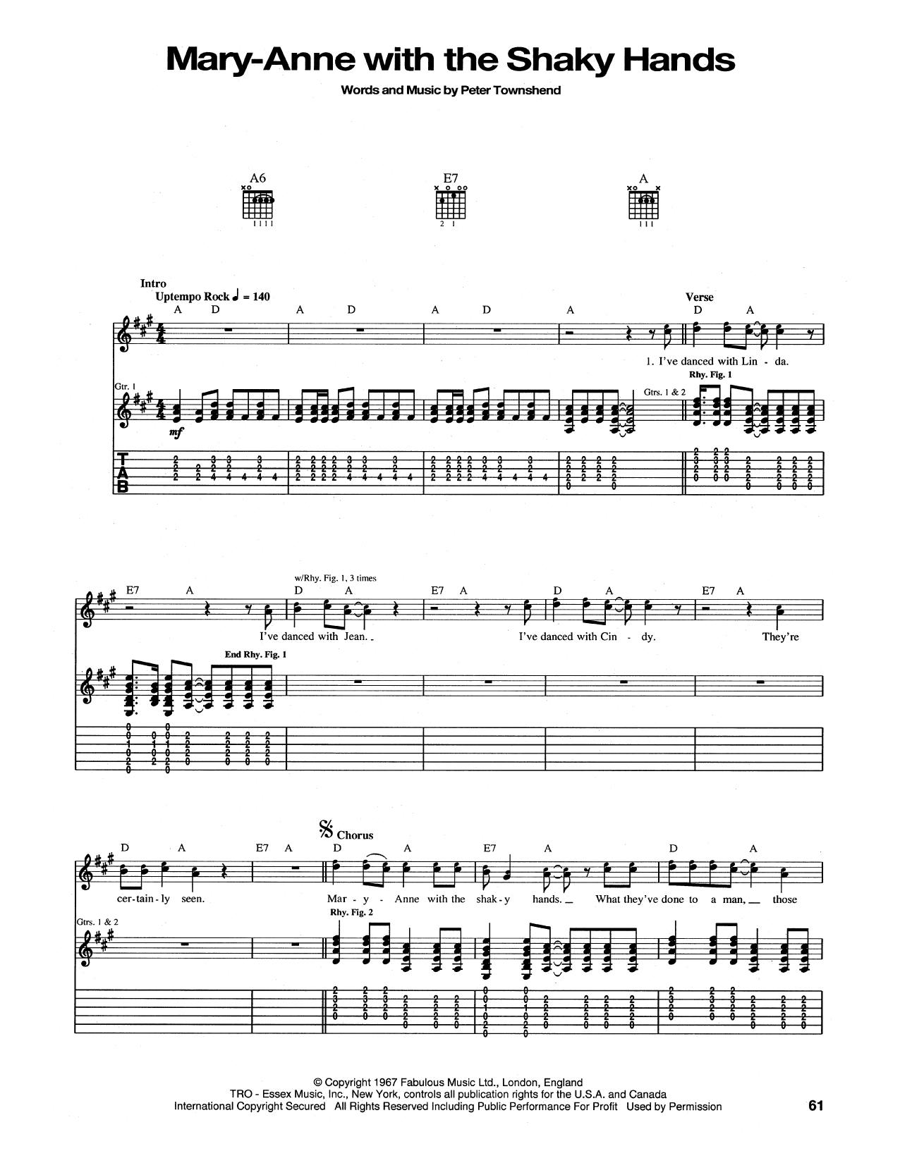 Tablature guitare Mary-Anne With The Shaky Hands de The Who - Tablature Guitare