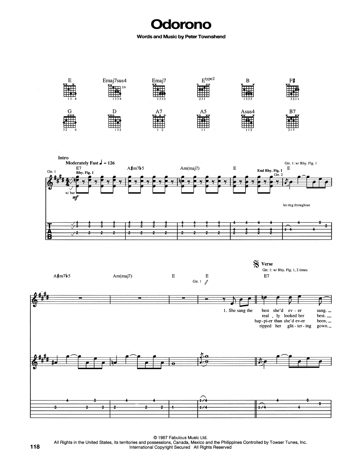 Tablature guitare Odorono de The Who - Tablature Guitare