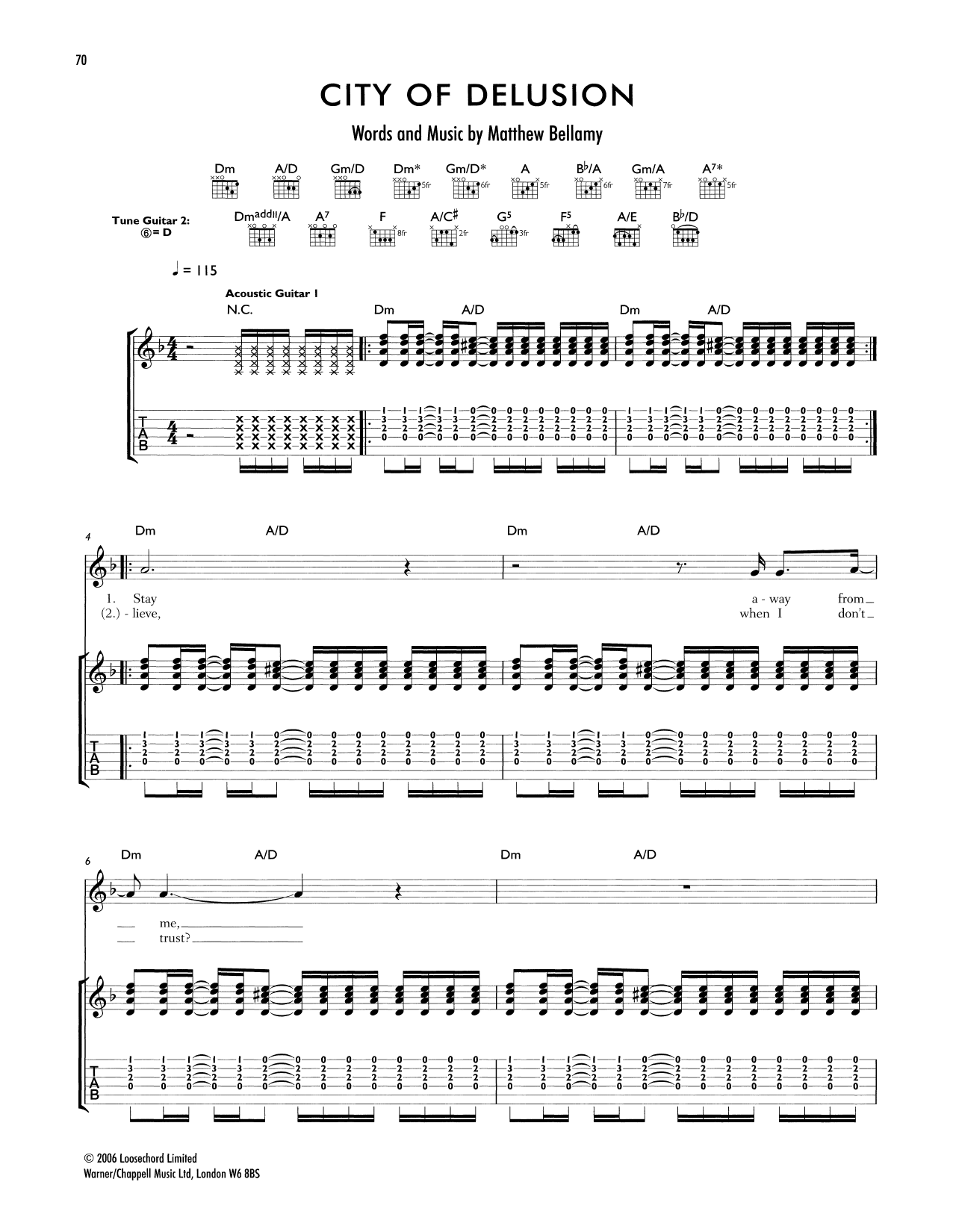Tablature guitare City Of Delusion de Muse - Tablature Guitare