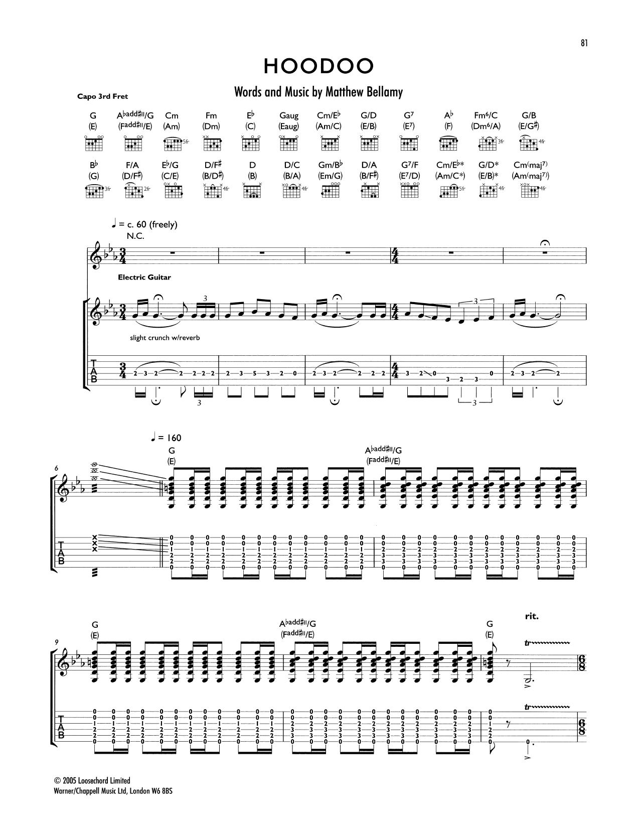 Tablature guitare Hoodoo de Muse - Tablature Guitare