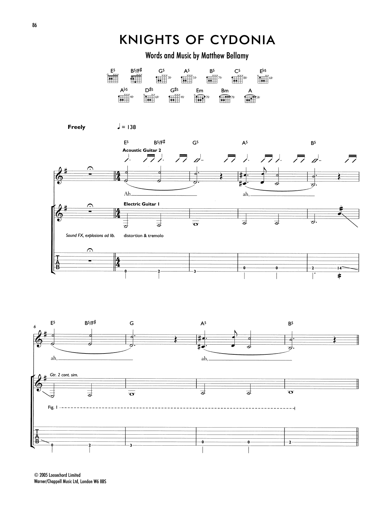 Tablature guitare Knights Of Cydonia de Muse - Tablature Guitare