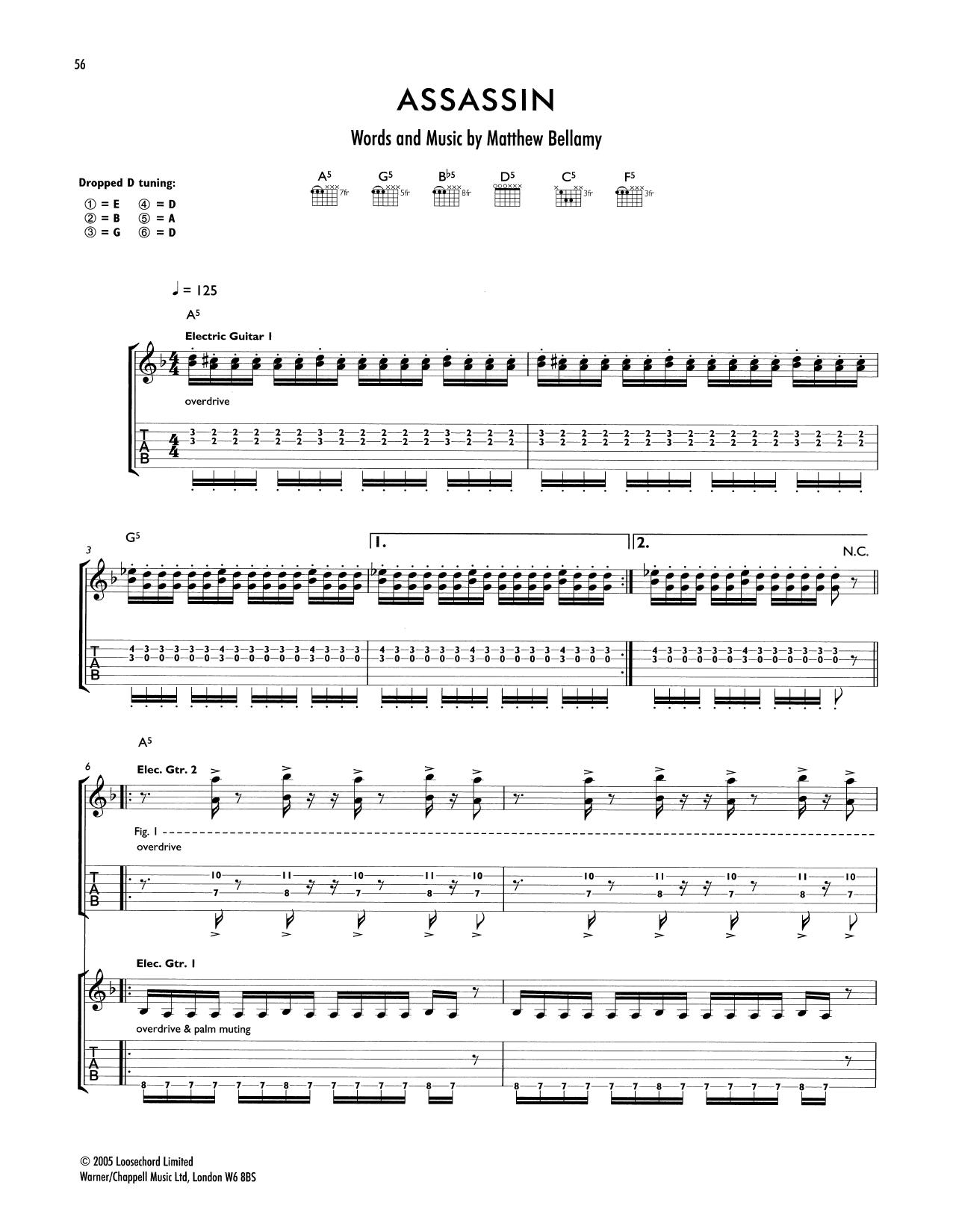 Tablature guitare Assassin de Muse - Tablature Guitare