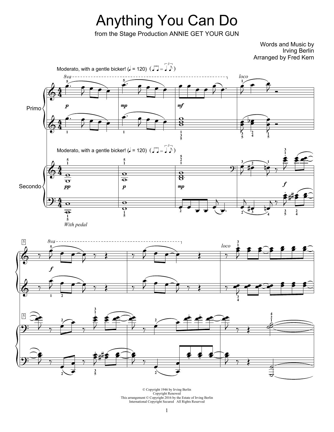 Partition piano Anything You Can Do de Fred Kern - 4 mains