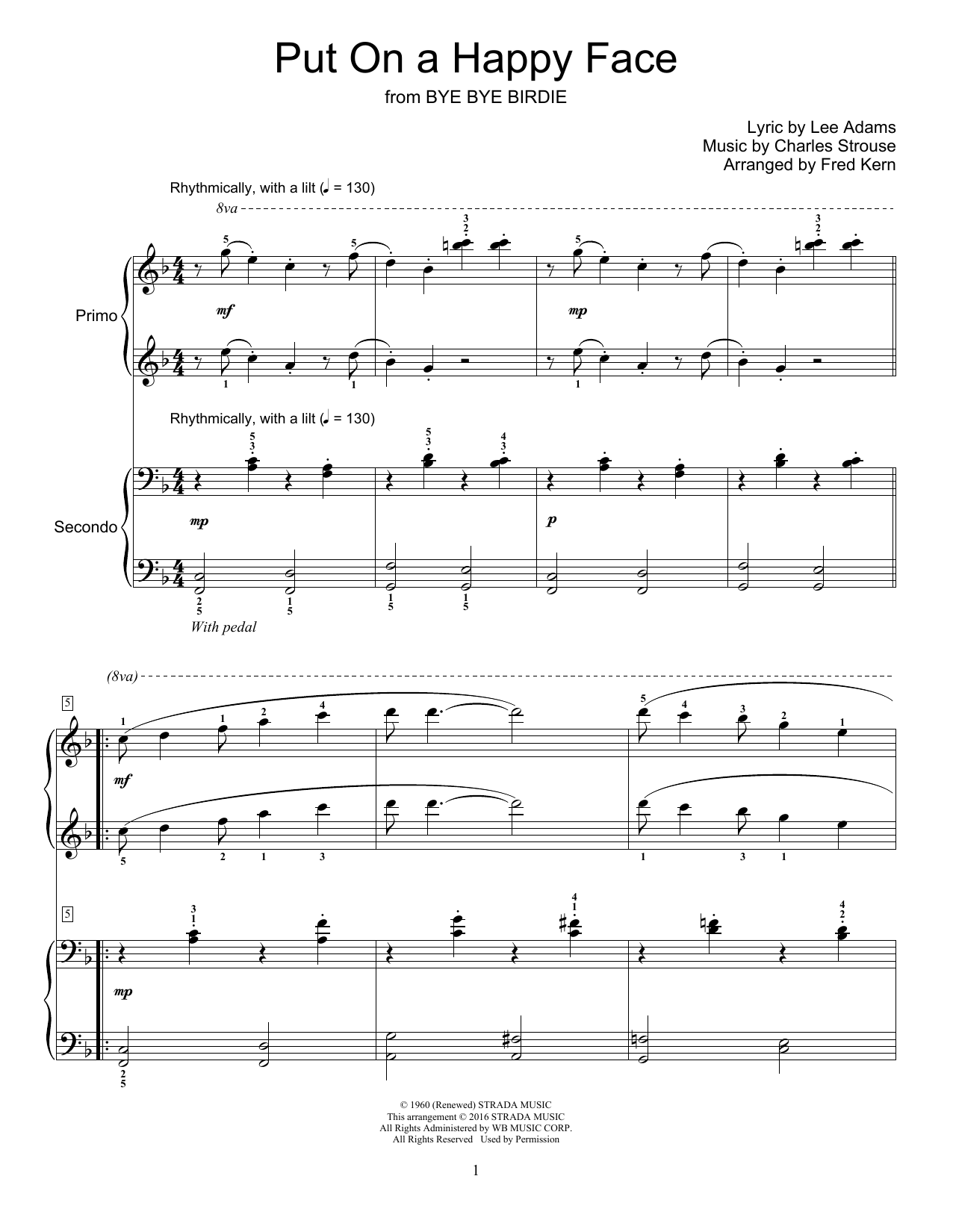 Partition piano Put On A Happy Face de Fred Kern - 4 mains