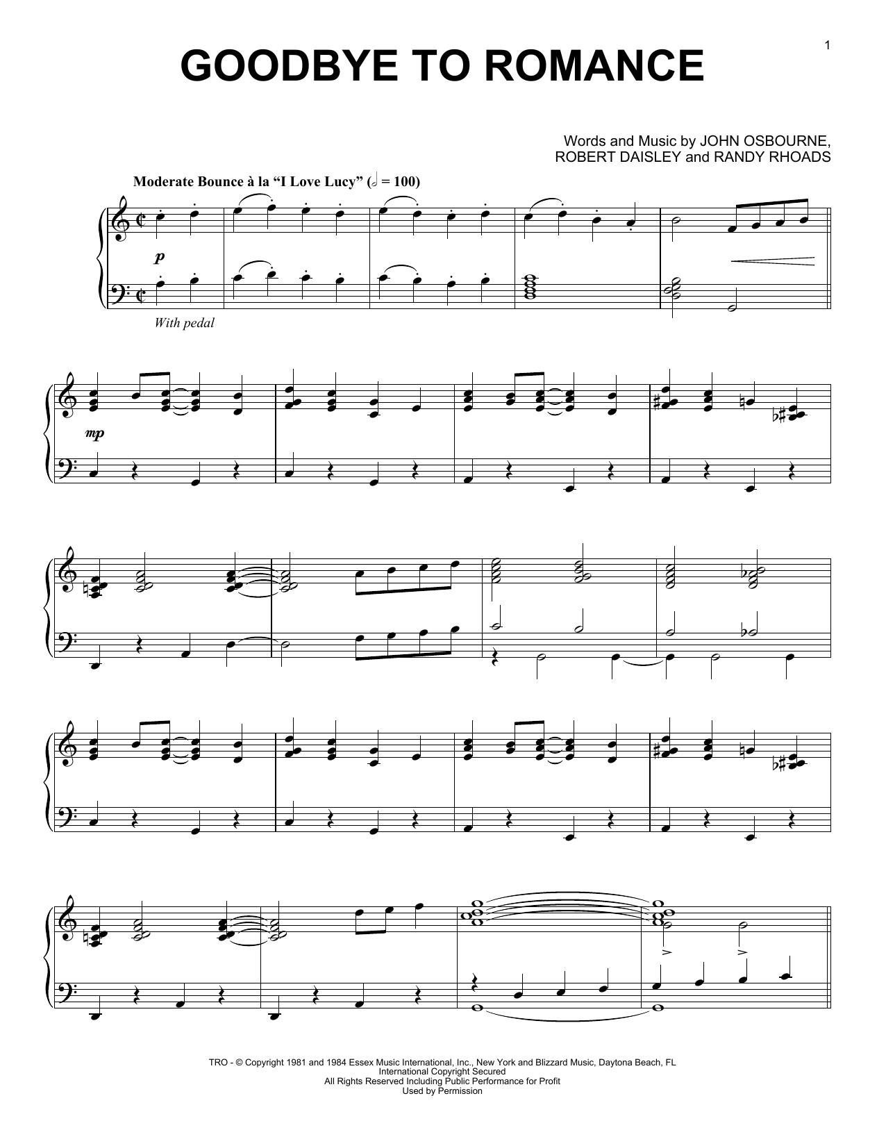 Partition piano Goodbye To Romance de Ozzy Osbourne - Piano Solo