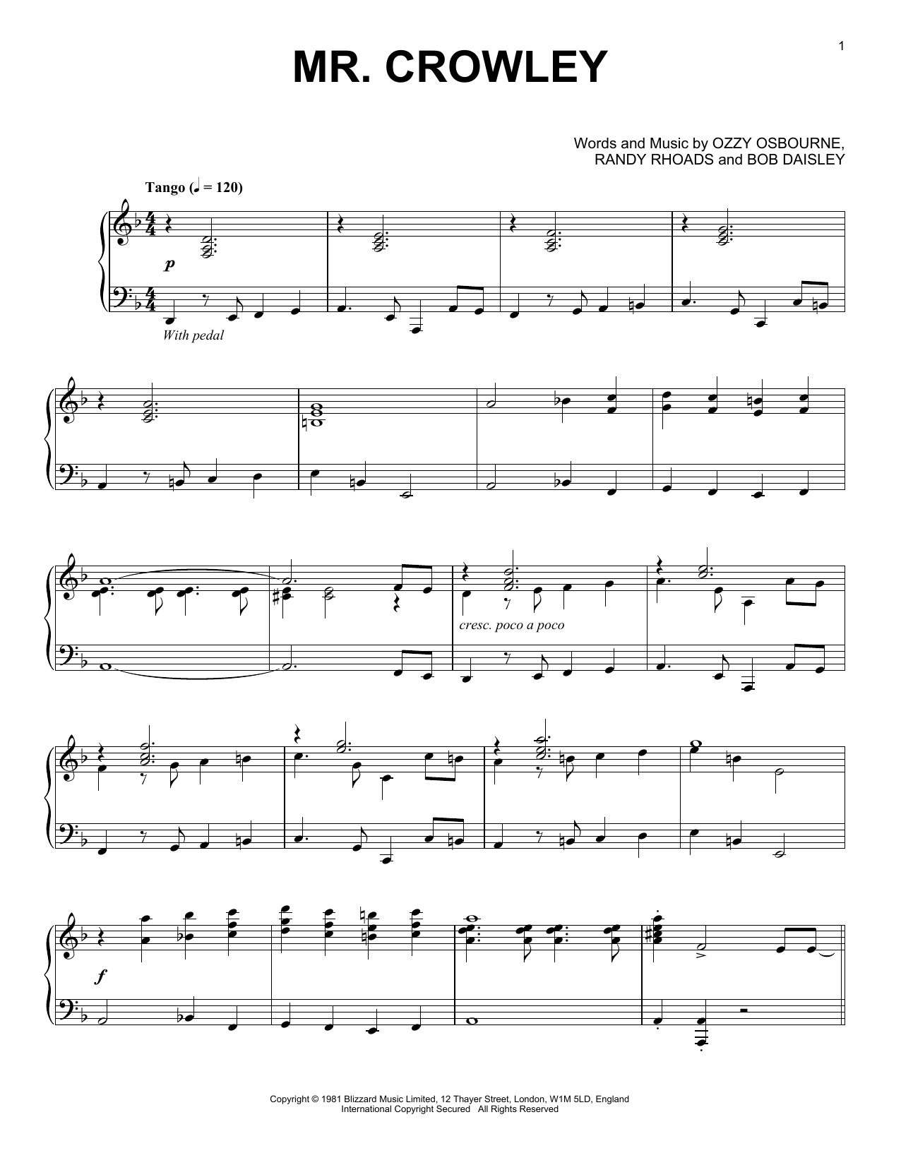 Partition piano Mr. Crowley de Ozzy Osbourne - Piano Solo