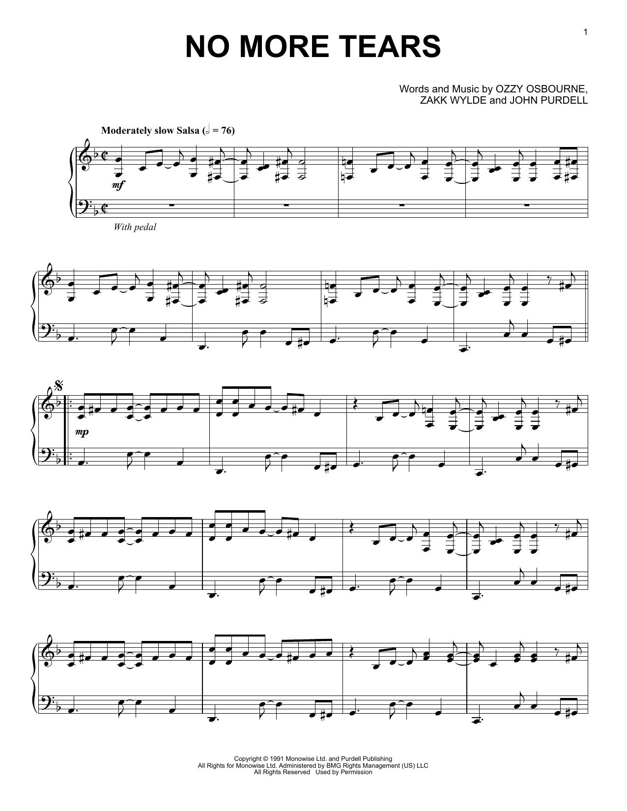 Partition piano No More Tears de Ozzy Osbourne - Piano Solo