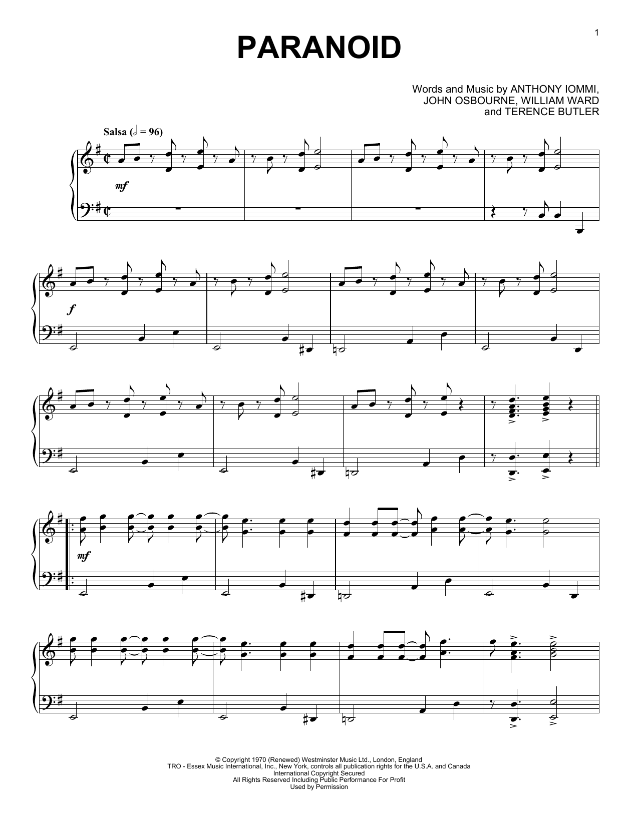 Partition piano Paranoid de Black Sabbath - Piano Solo