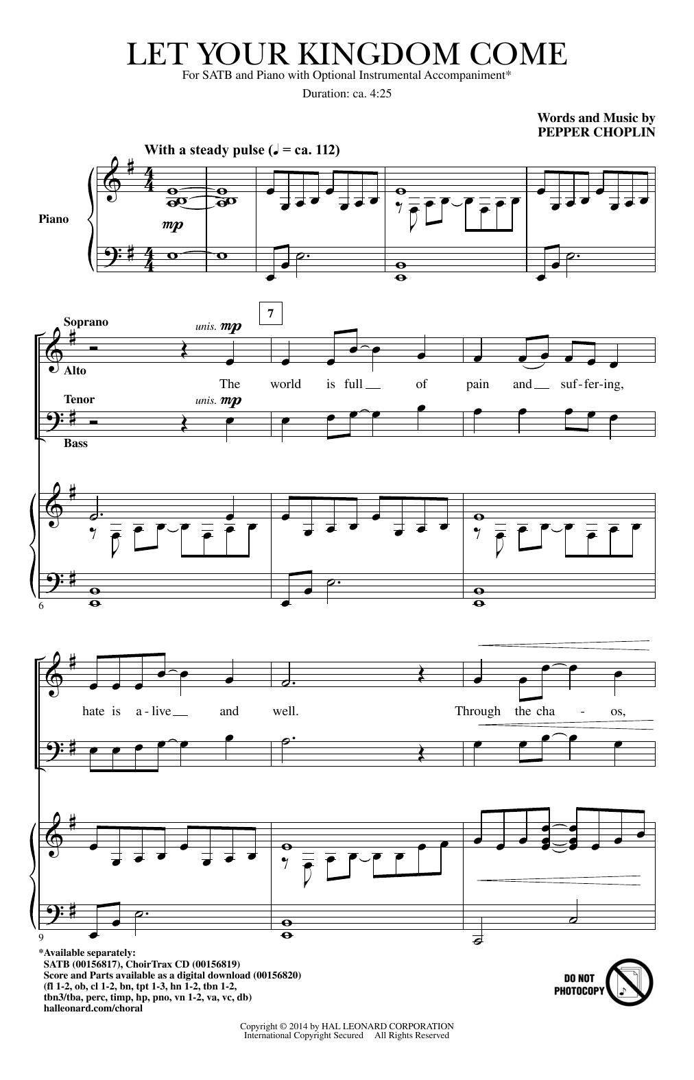 Partition chorale Let Your Kingdom Come de Pepper Choplin - SATB