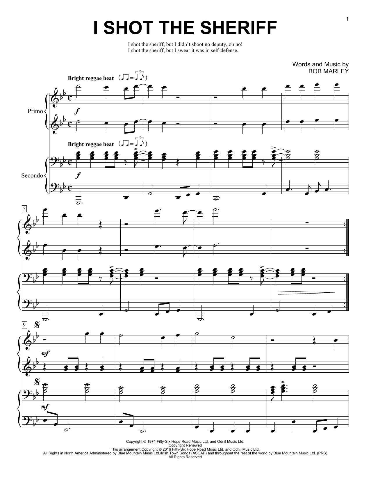 Partition piano I Shot The Sheriff de Brent Edstrom - 4 mains
