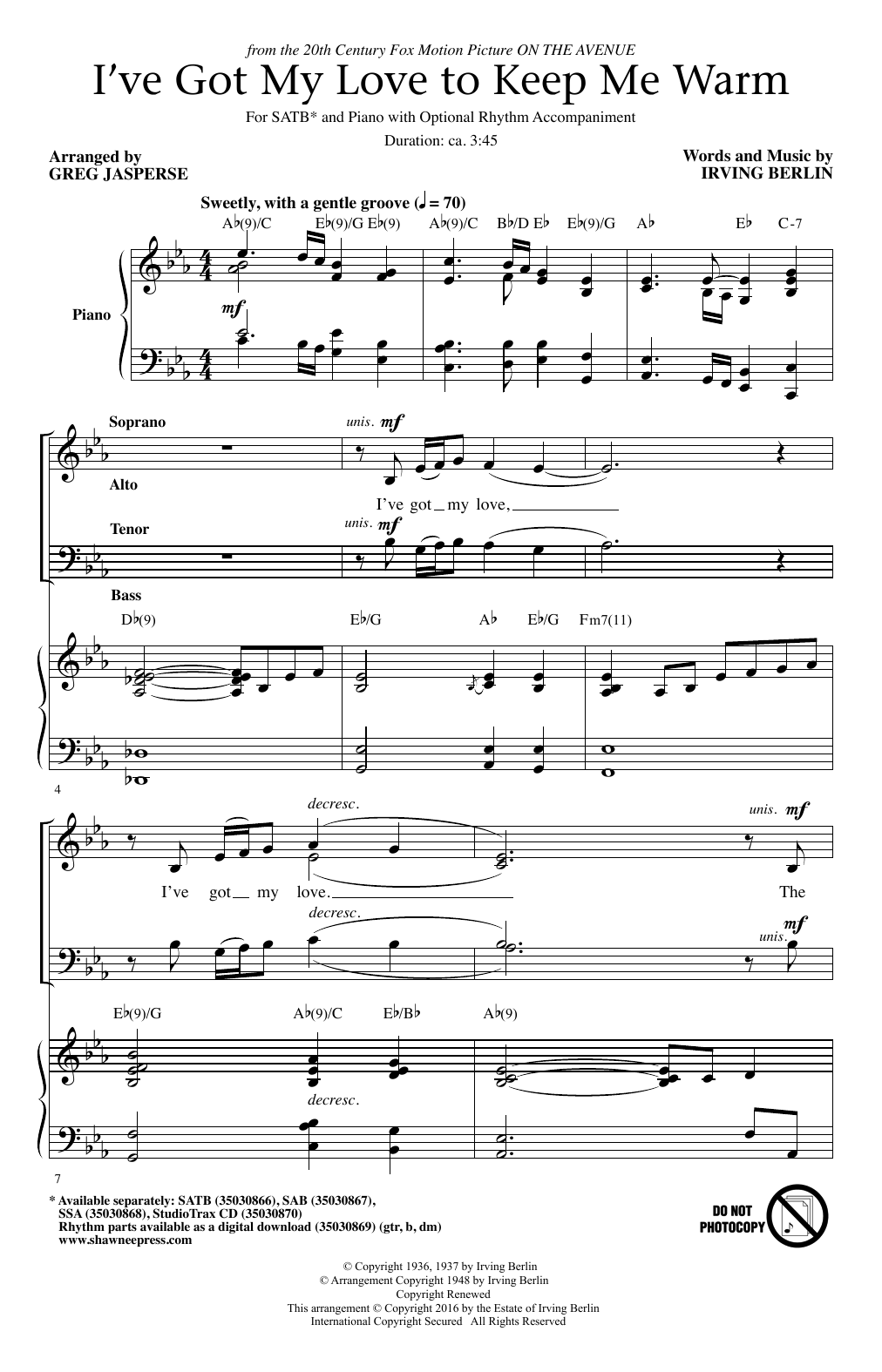 Partition chorale I've Got My Love To Keep Me Warm de Benny Goodman - SATB