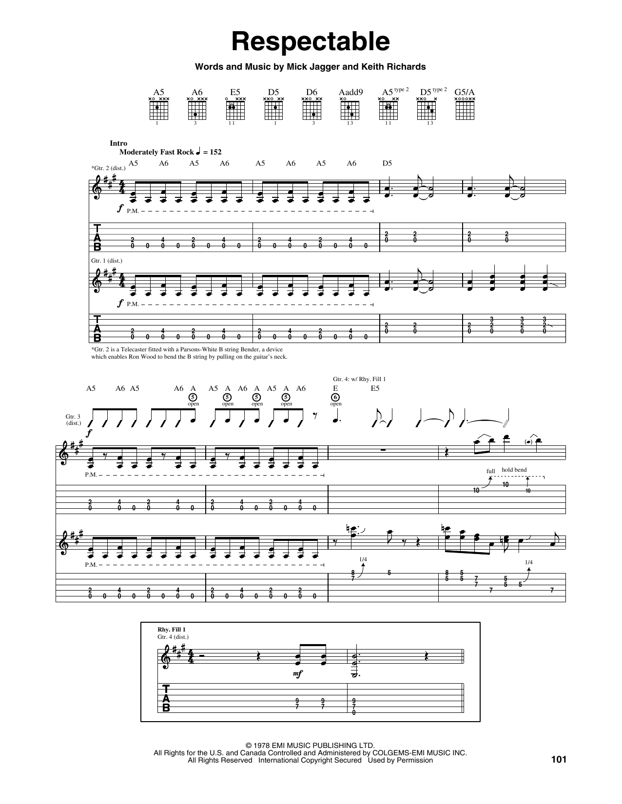 Tablature guitare Respectable de The Rolling Stones - Tablature Guitare