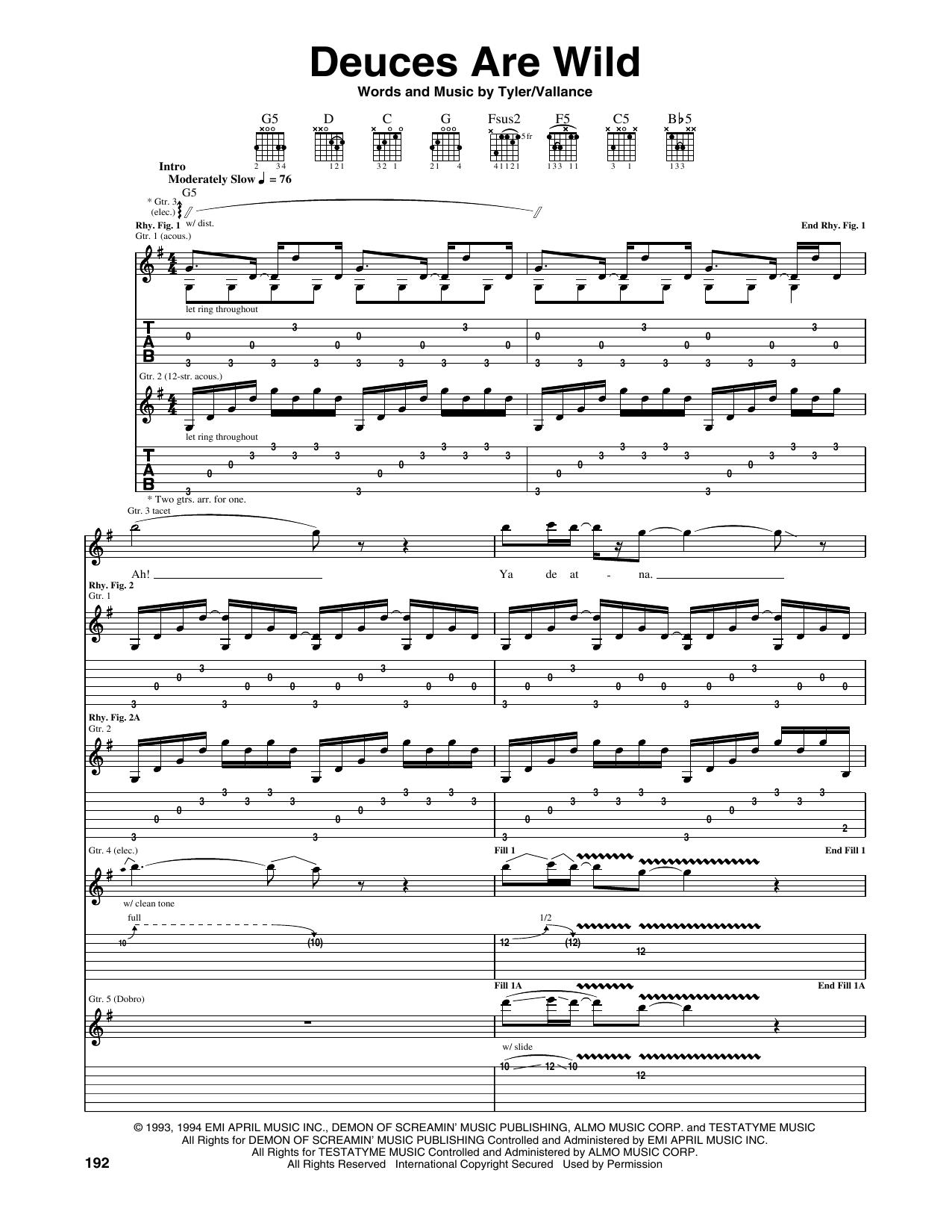Tablature guitare Deuces Are Wild de Aerosmith - Tablature Guitare