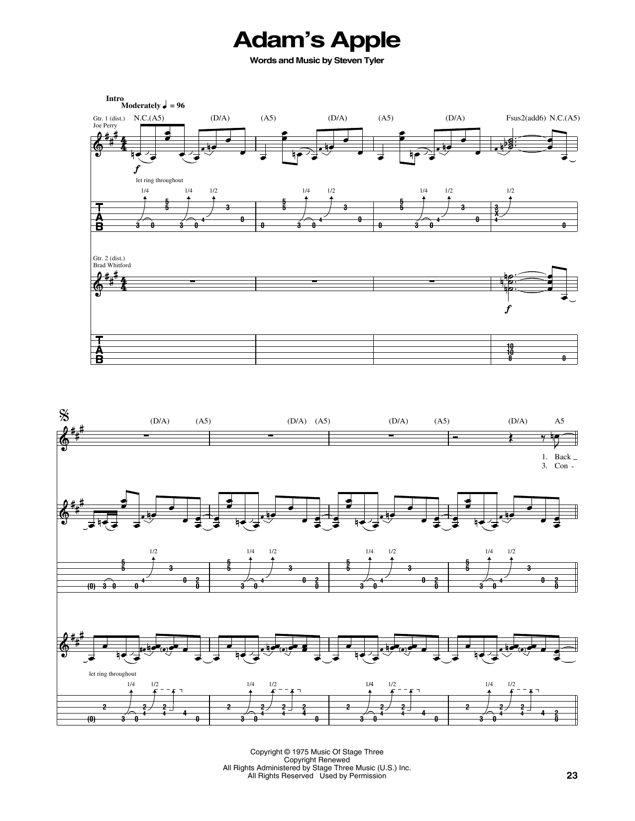 Tablature guitare Adam's Apple de Aerosmith - Tablature Guitare