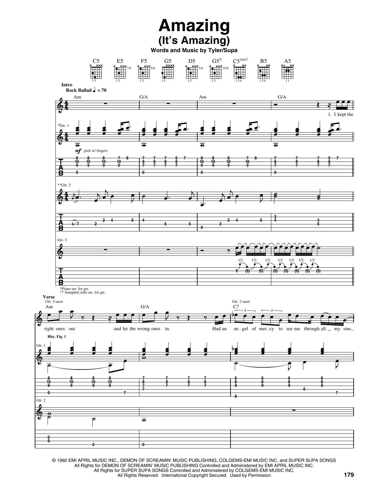 Tablature guitare Amazing (It's Amazing) de Aerosmith - Tablature Guitare