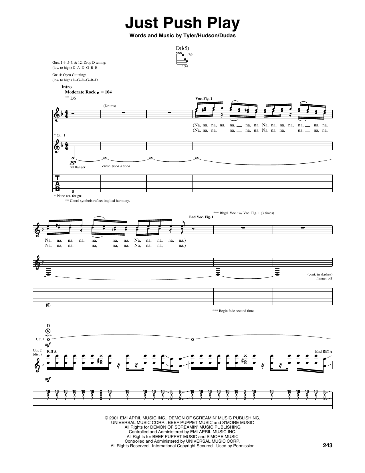 Tablature guitare Just Push Play de Aerosmith - Tablature Guitare