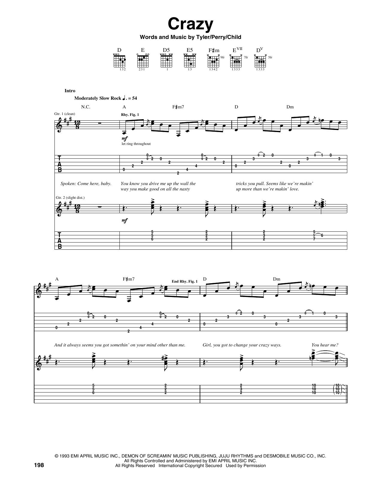 Tablature guitare Crazy de Aerosmith - Tablature Guitare