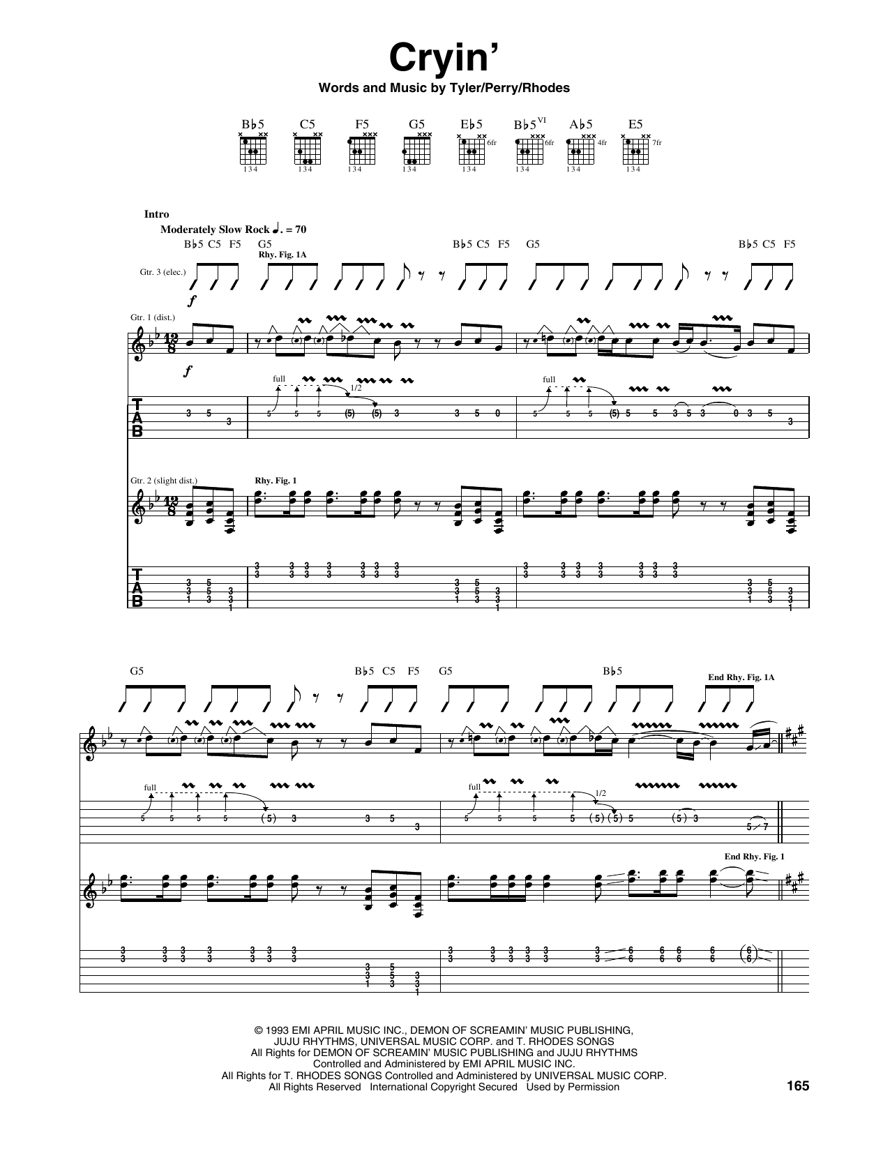 Tablature guitare Cryin' de Aerosmith - Tablature Guitare