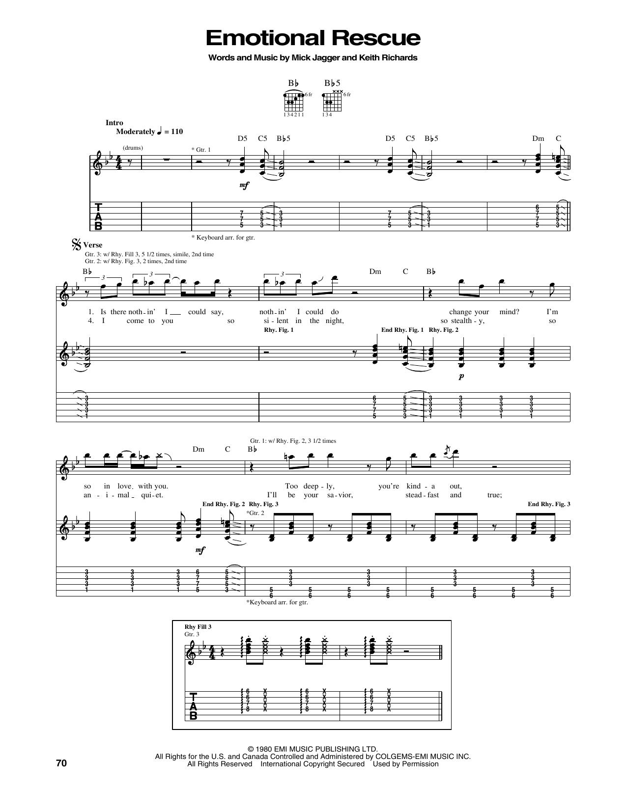 Tablature guitare Emotional Rescue de The Rolling Stones - Tablature Guitare