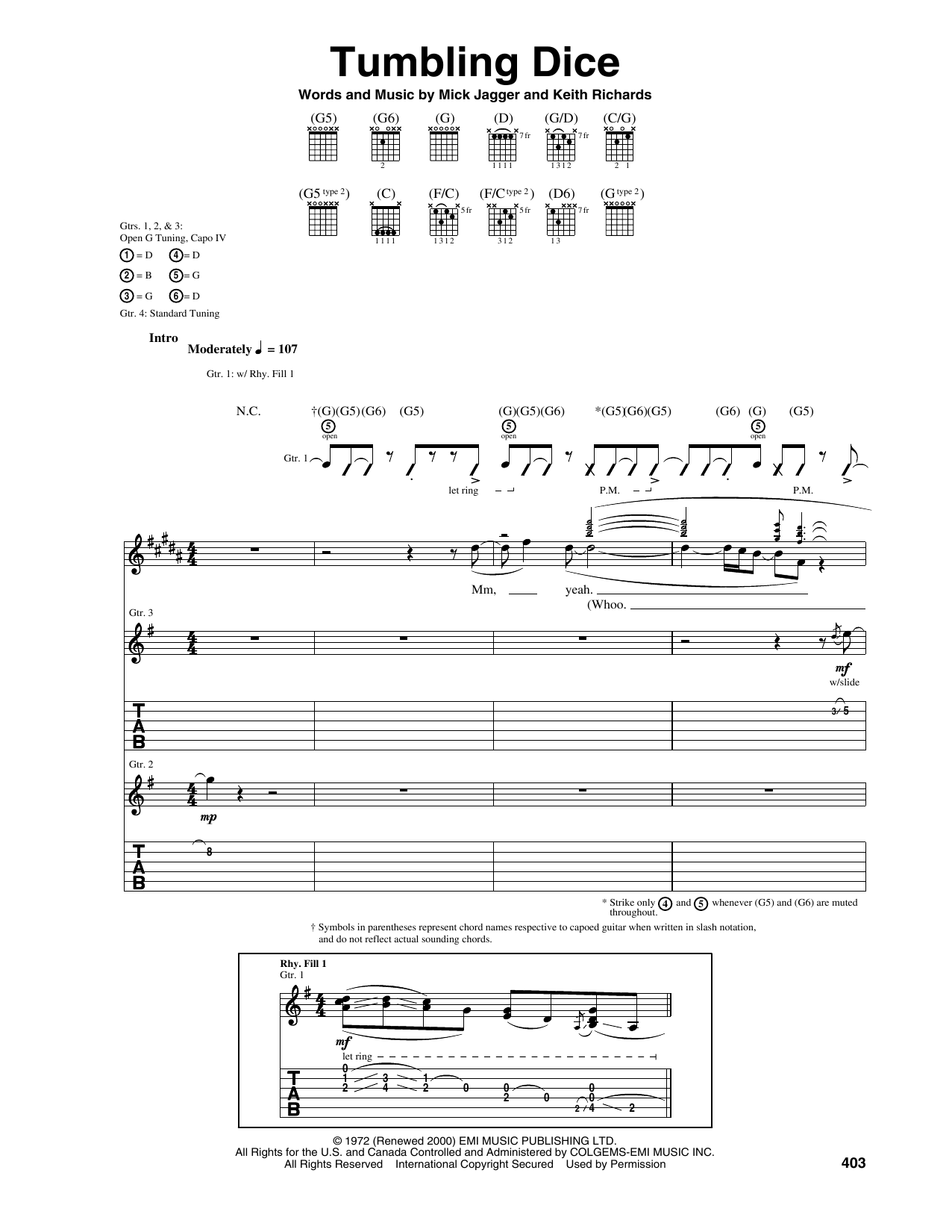 Tablature guitare Tumbling Dice de The Rolling Stones - Tablature Guitare