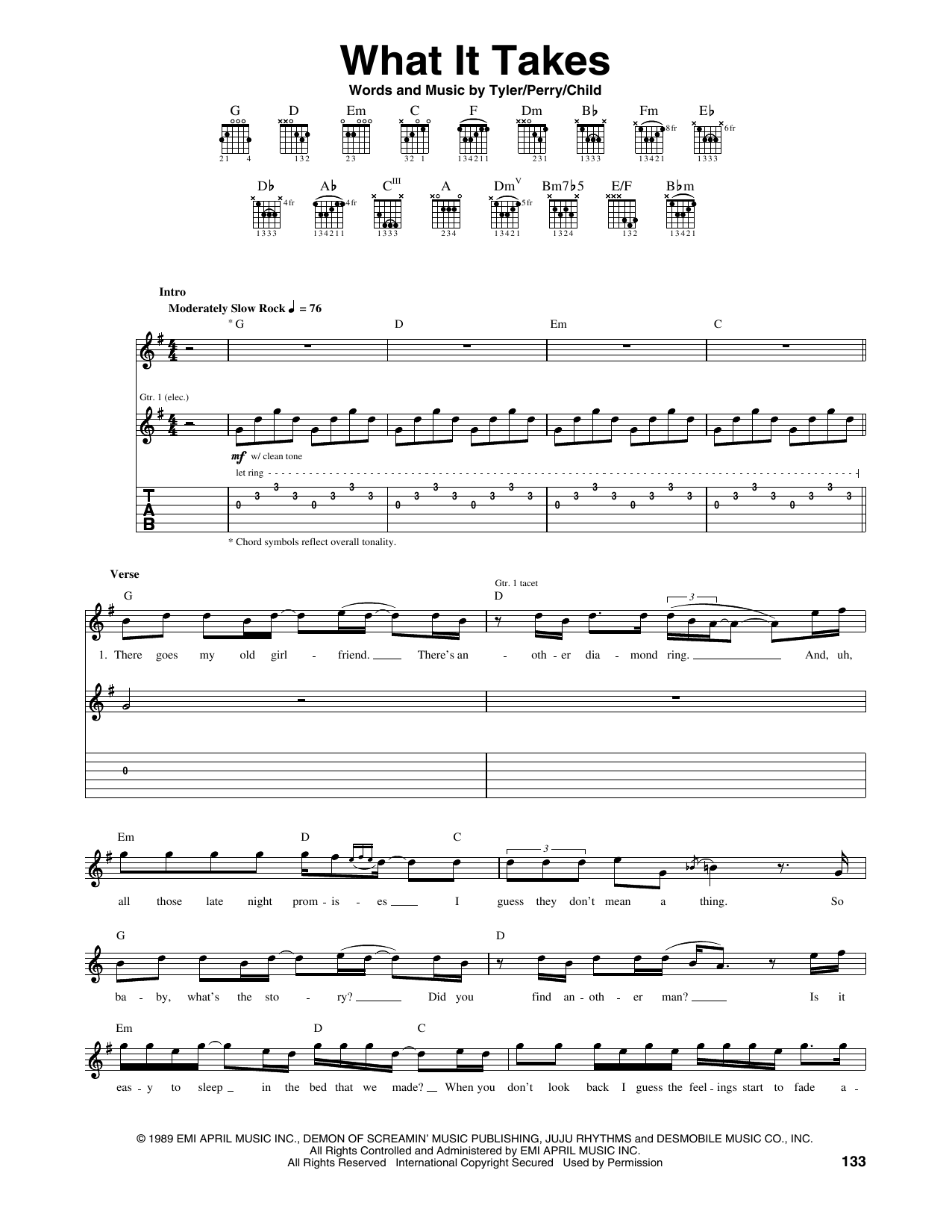Tablature guitare What It Takes de Aerosmith - Tablature Guitare