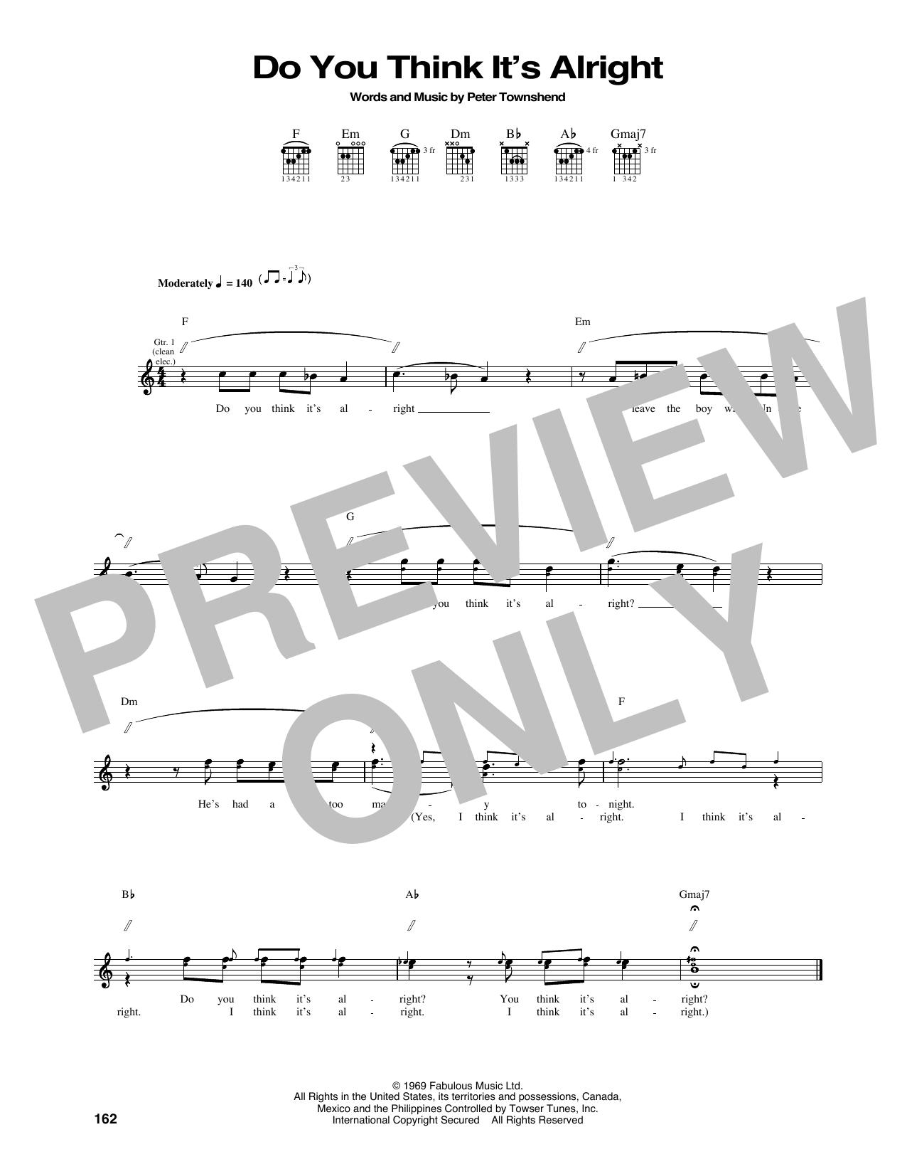 Tablature guitare Do You Think It's Alright de The Who - Tablature Guitare