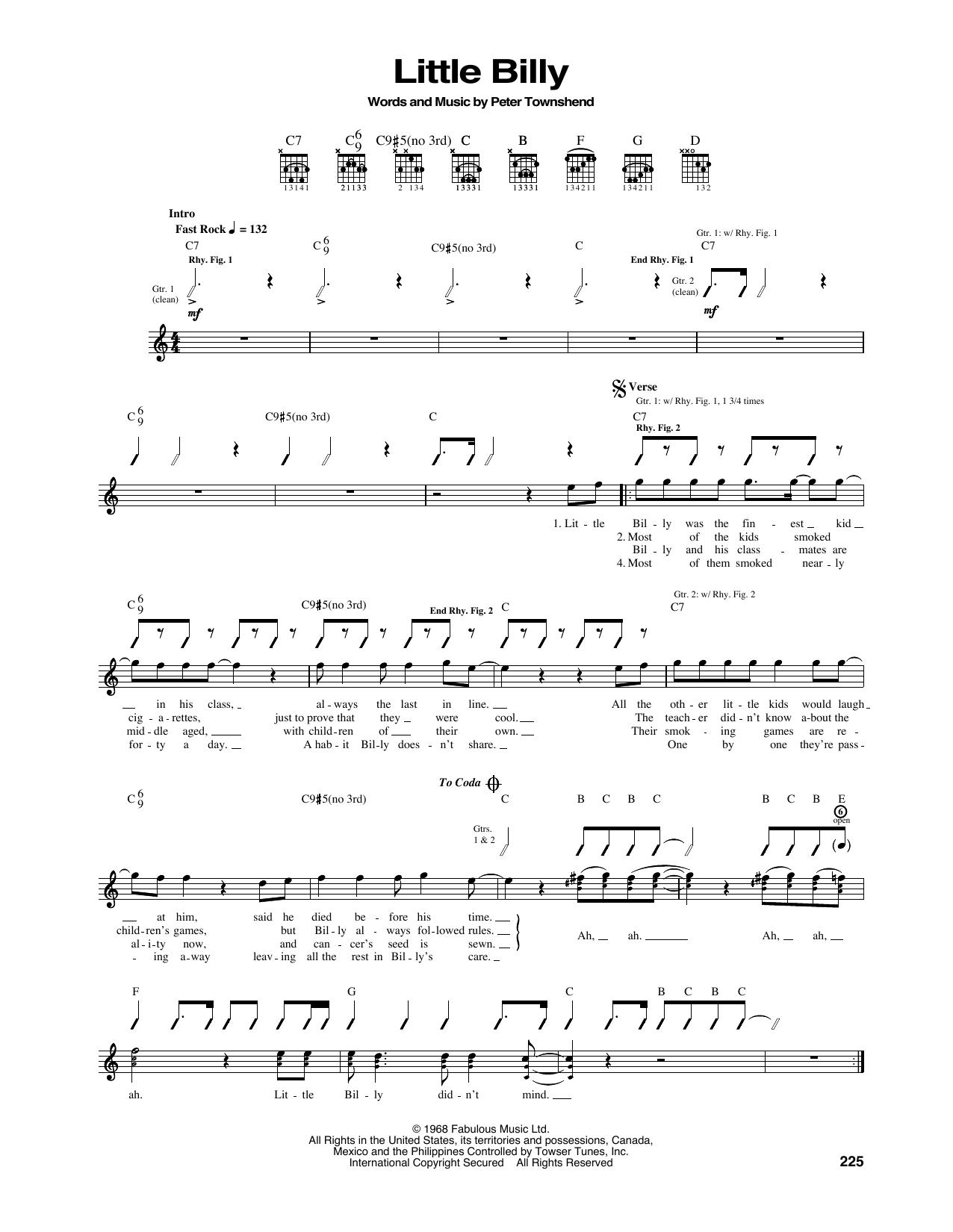Tablature guitare Little Billy de The Who - Tablature Guitare