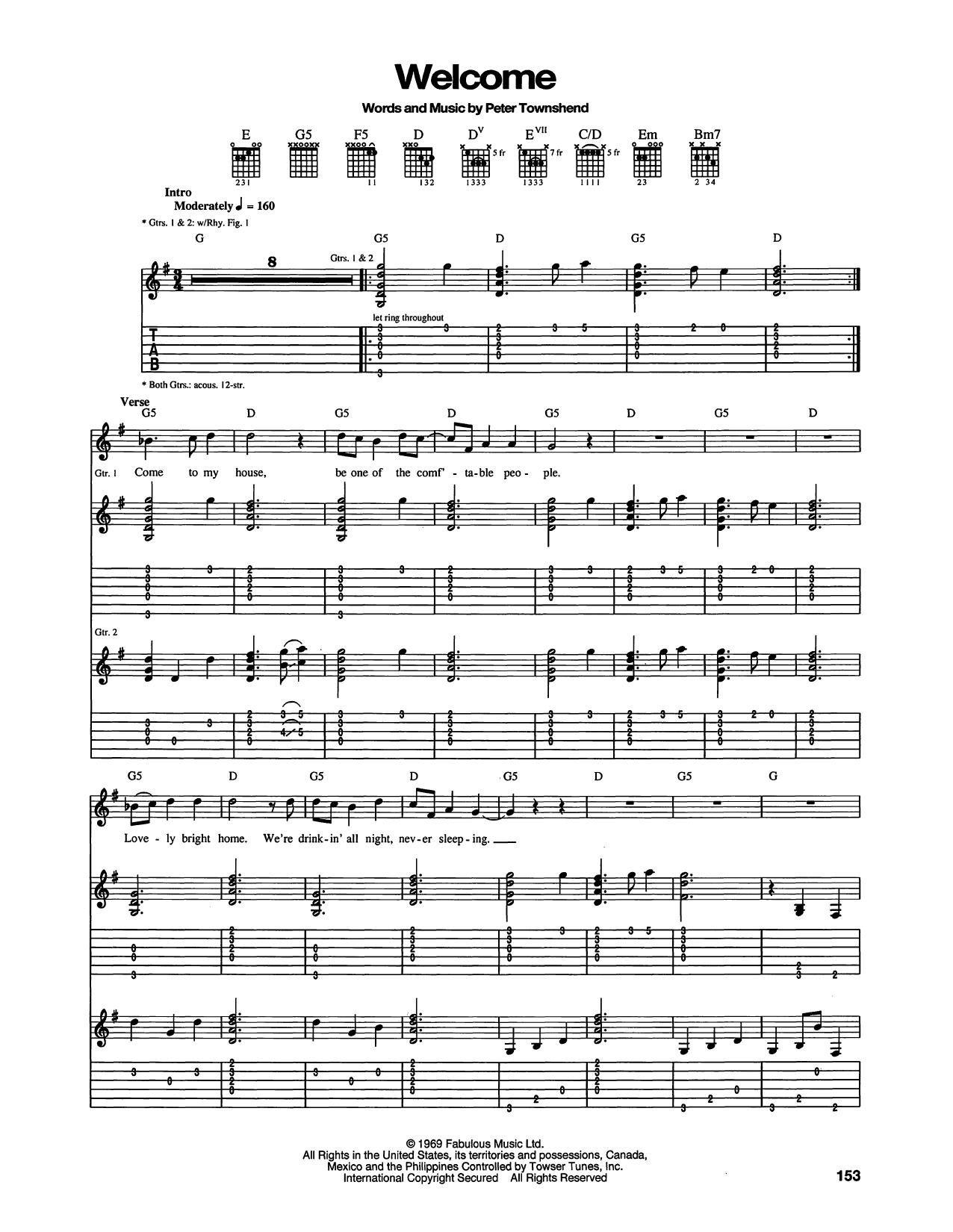 Tablature guitare Welcome de The Who - Tablature Guitare