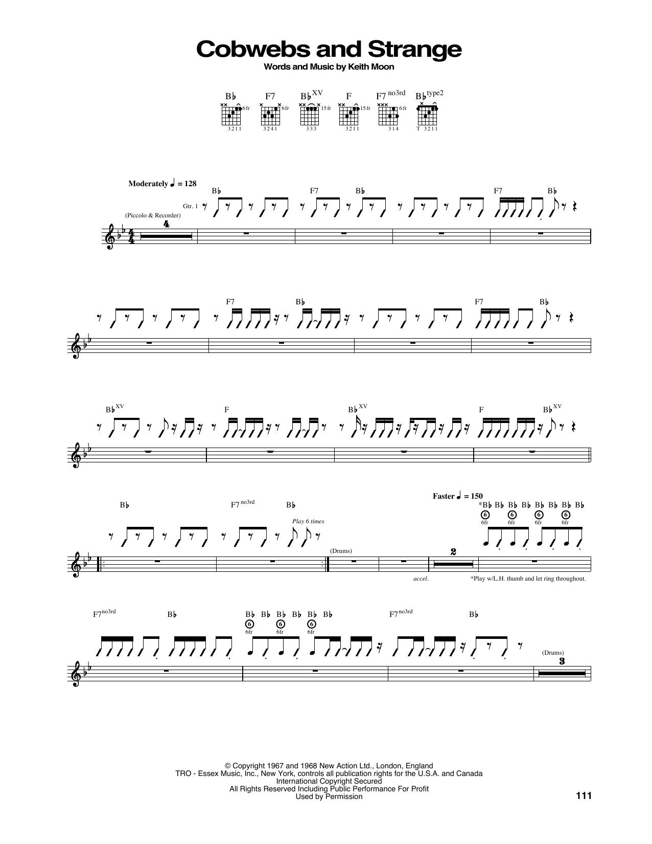 Tablature guitare Cobwebs And Strange de The Who - Tablature Guitare