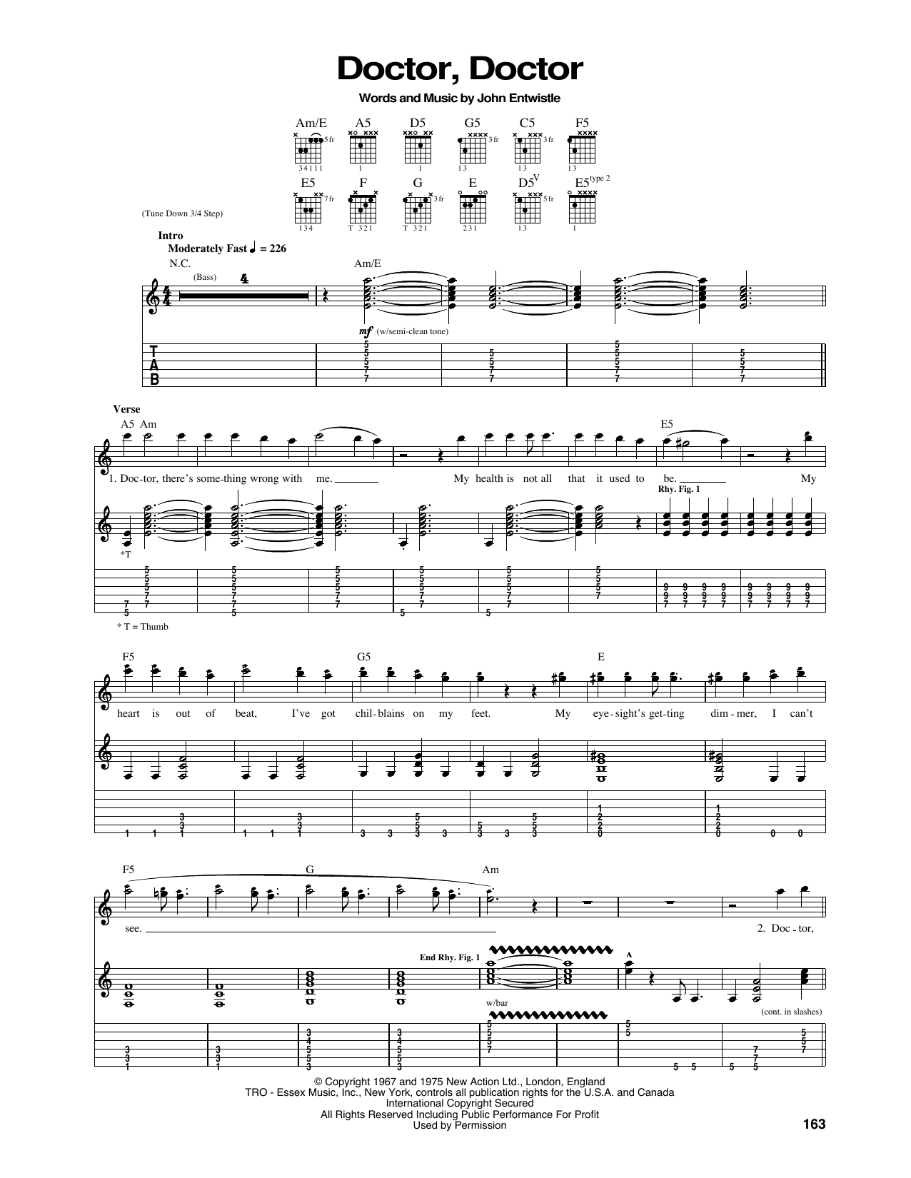 Tablature guitare Doctor, Doctor de The Who - Tablature Guitare