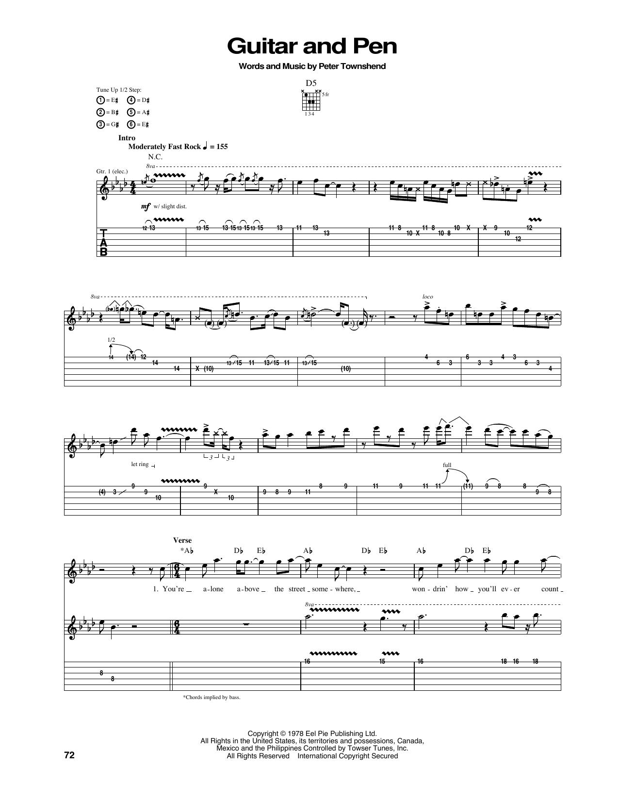 Tablature guitare Guitar And Pen de The Who - Tablature Guitare