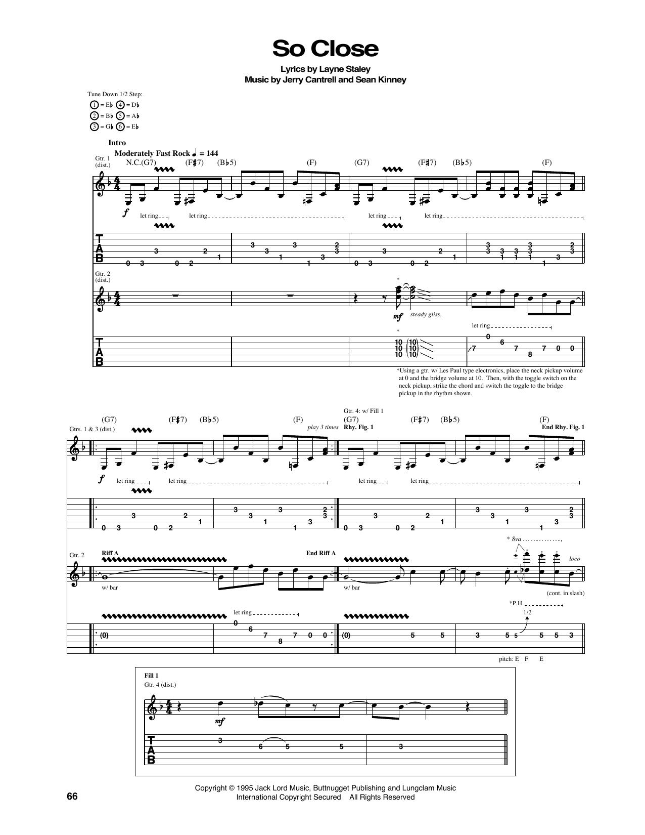 Tablature guitare So Close de Alice In Chains - Tablature Guitare