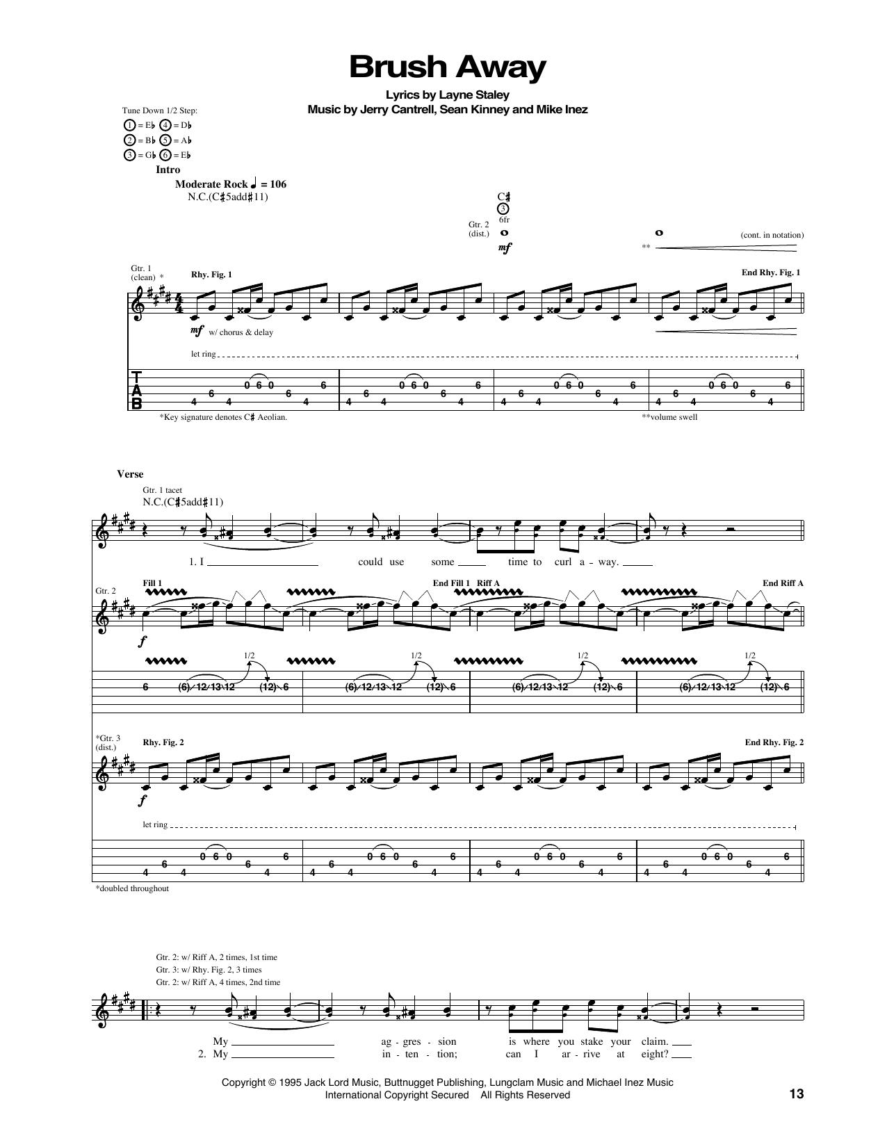 Tablature guitare Brush Away de Alice In Chains - Tablature Guitare